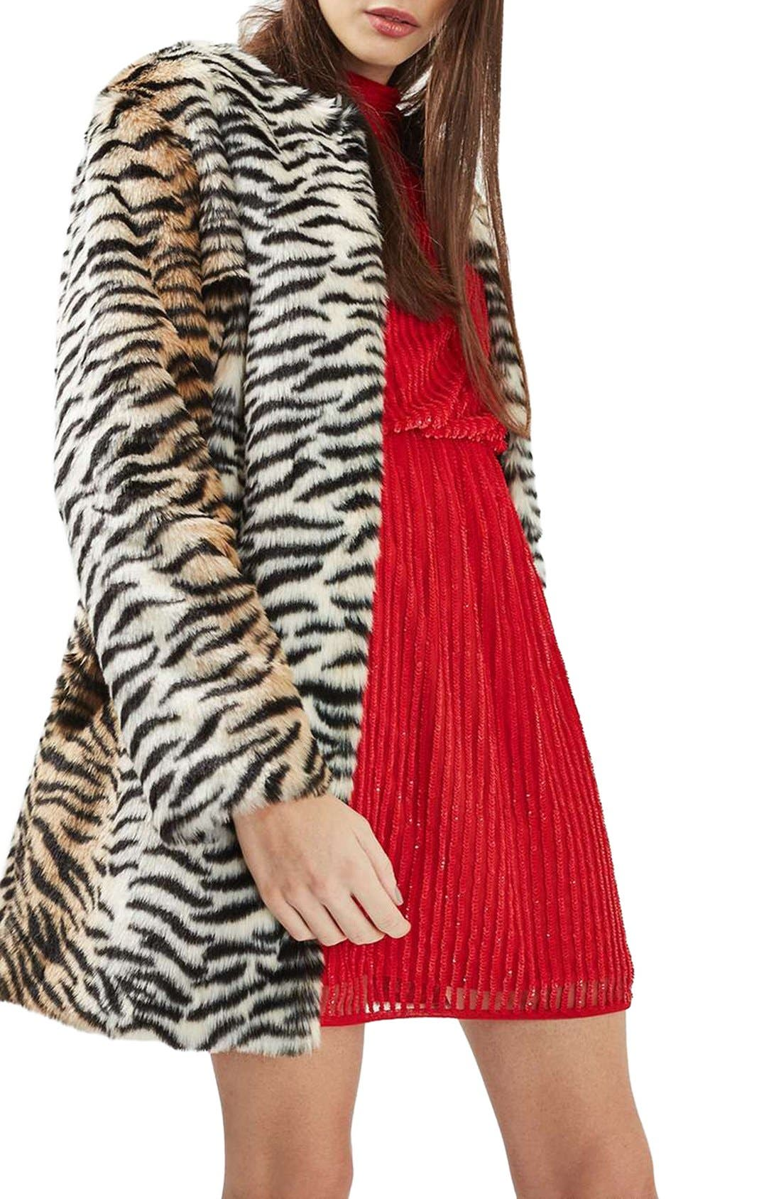 TOPSHOP Tiger Faux Fur Coat, Main, color, 200