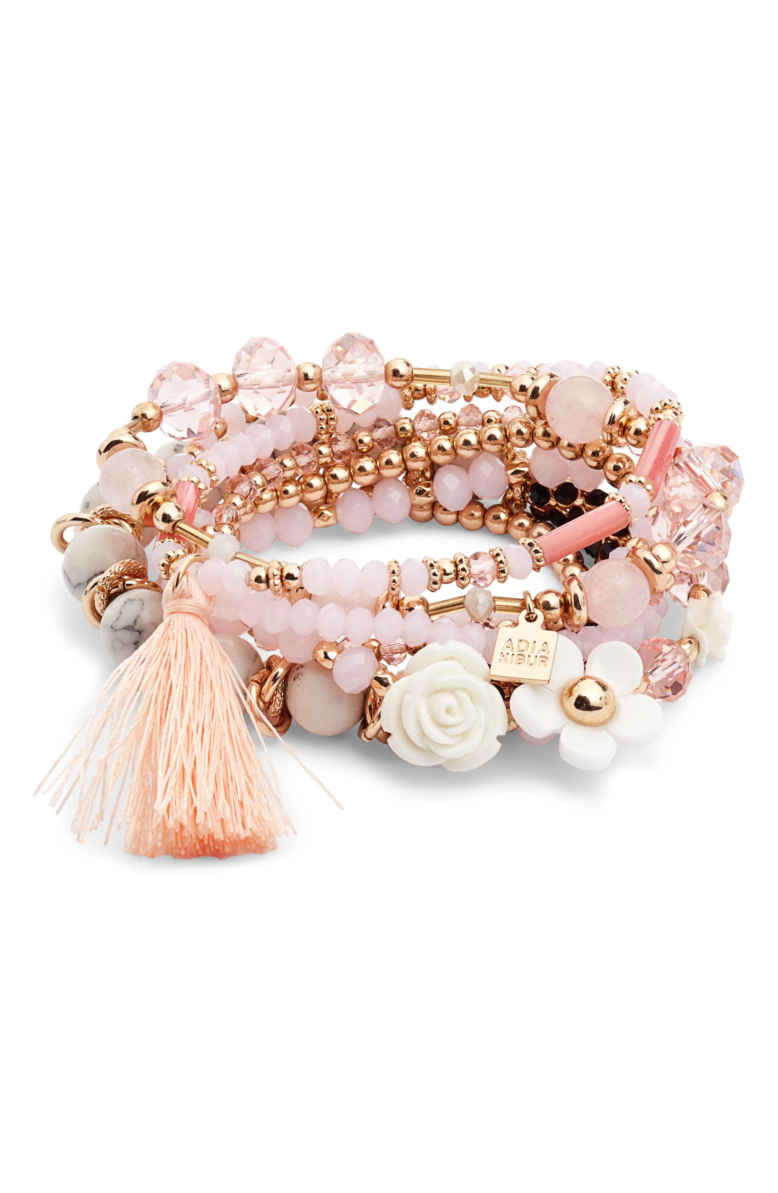 Beaded Bracelet,                             Main thumbnail 1, color,                             PINK