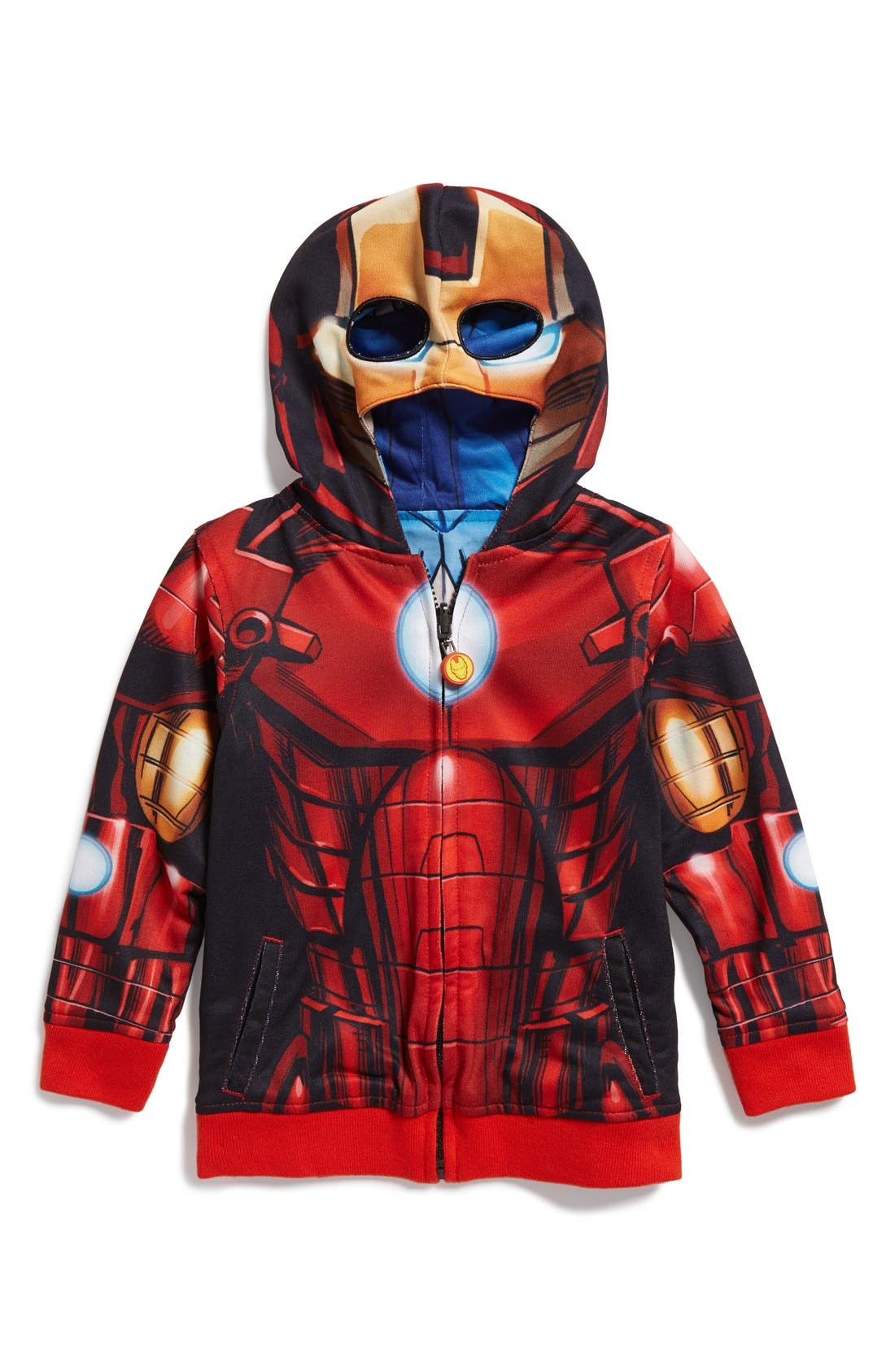 'Marvel Avengers - Iron Man/Captain America' Reversible Hoodie, Main, color, 615