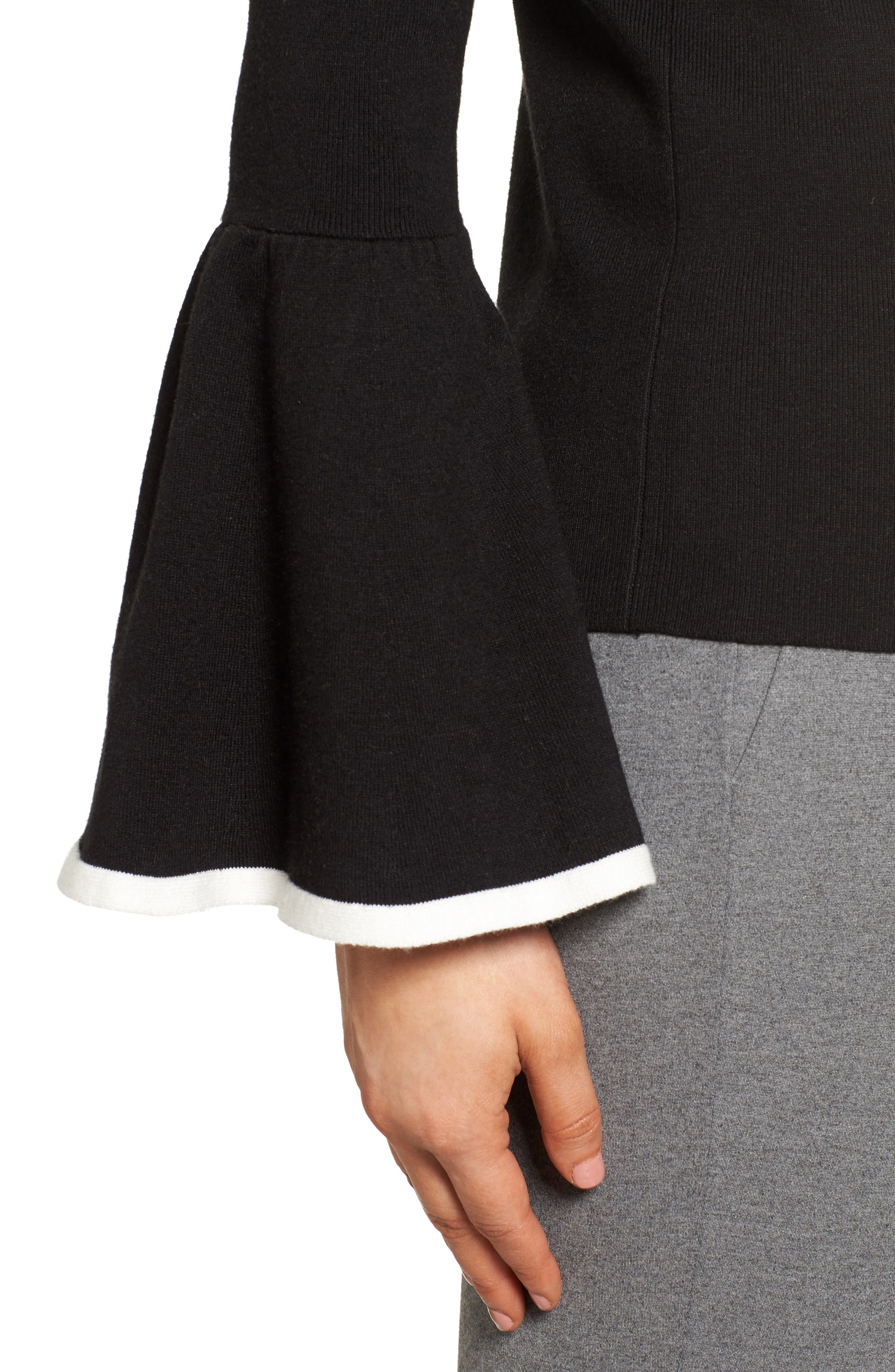 Flare Sleeve Sweater,                             Alternate thumbnail 4, color,                             001