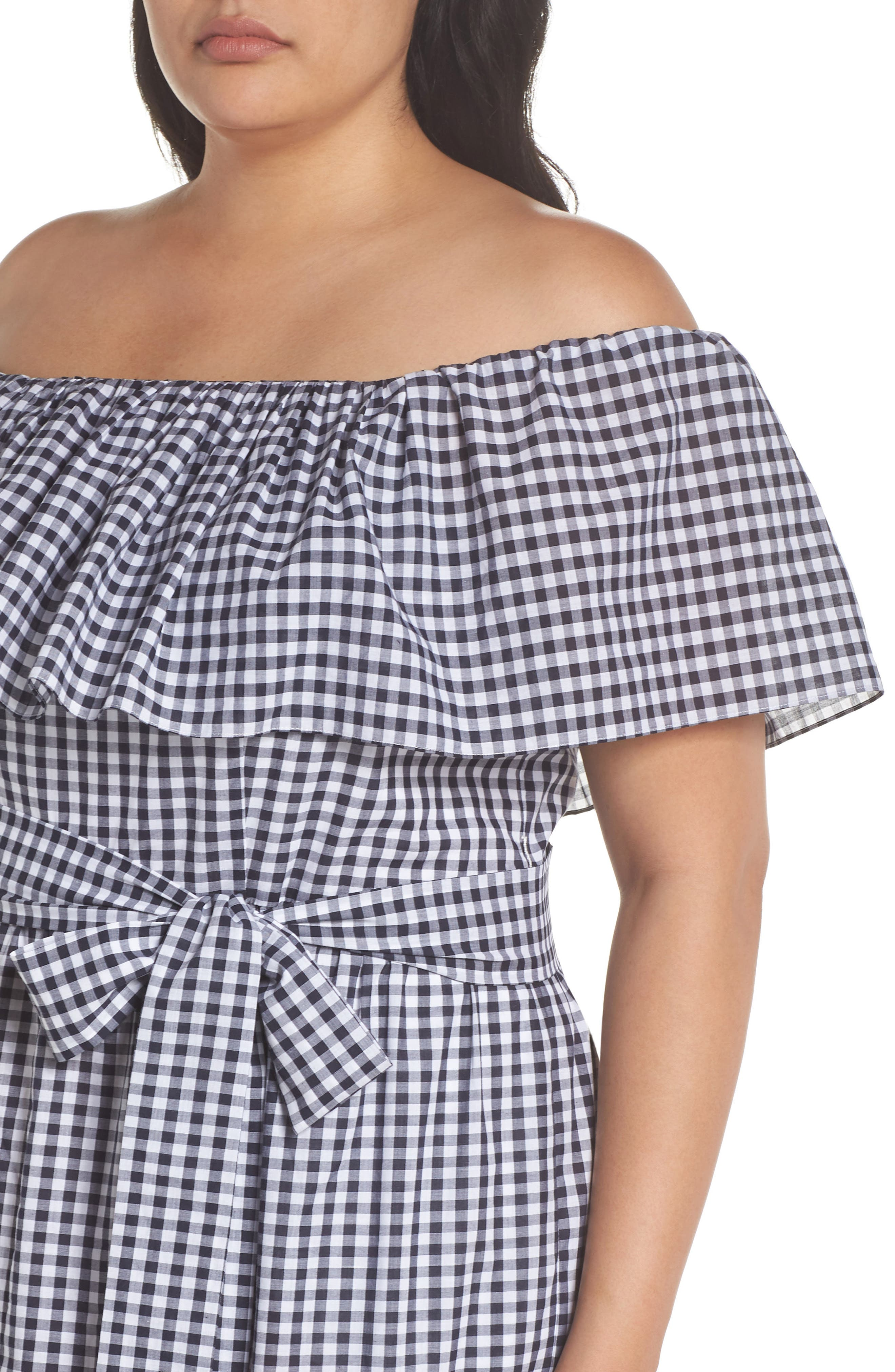 Off the Shoulder Gingham Maxi Dress,                             Alternate thumbnail 4, color,