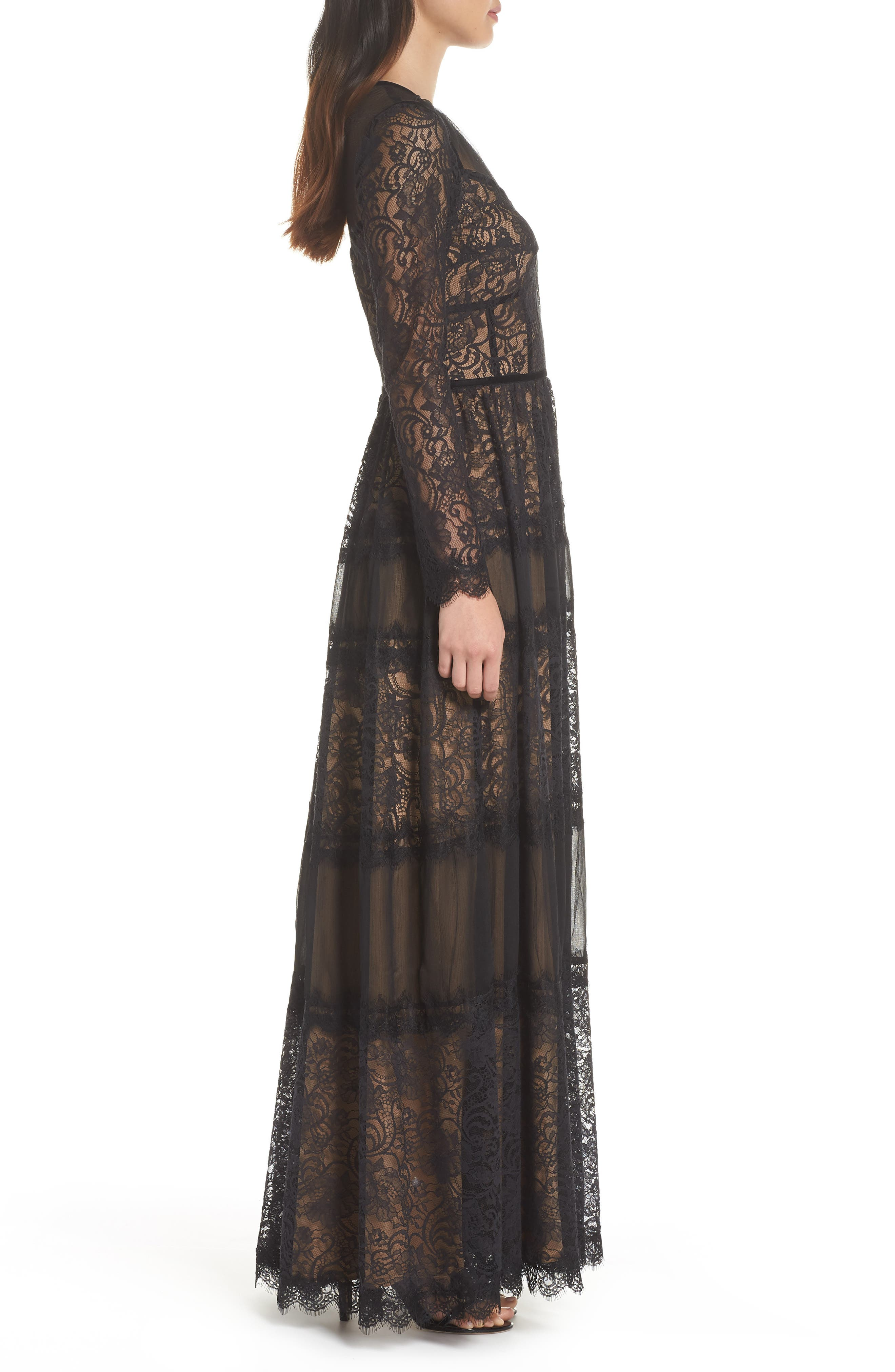 Lace Gown,                             Alternate thumbnail 3, color,                             BLACK/ NUDE