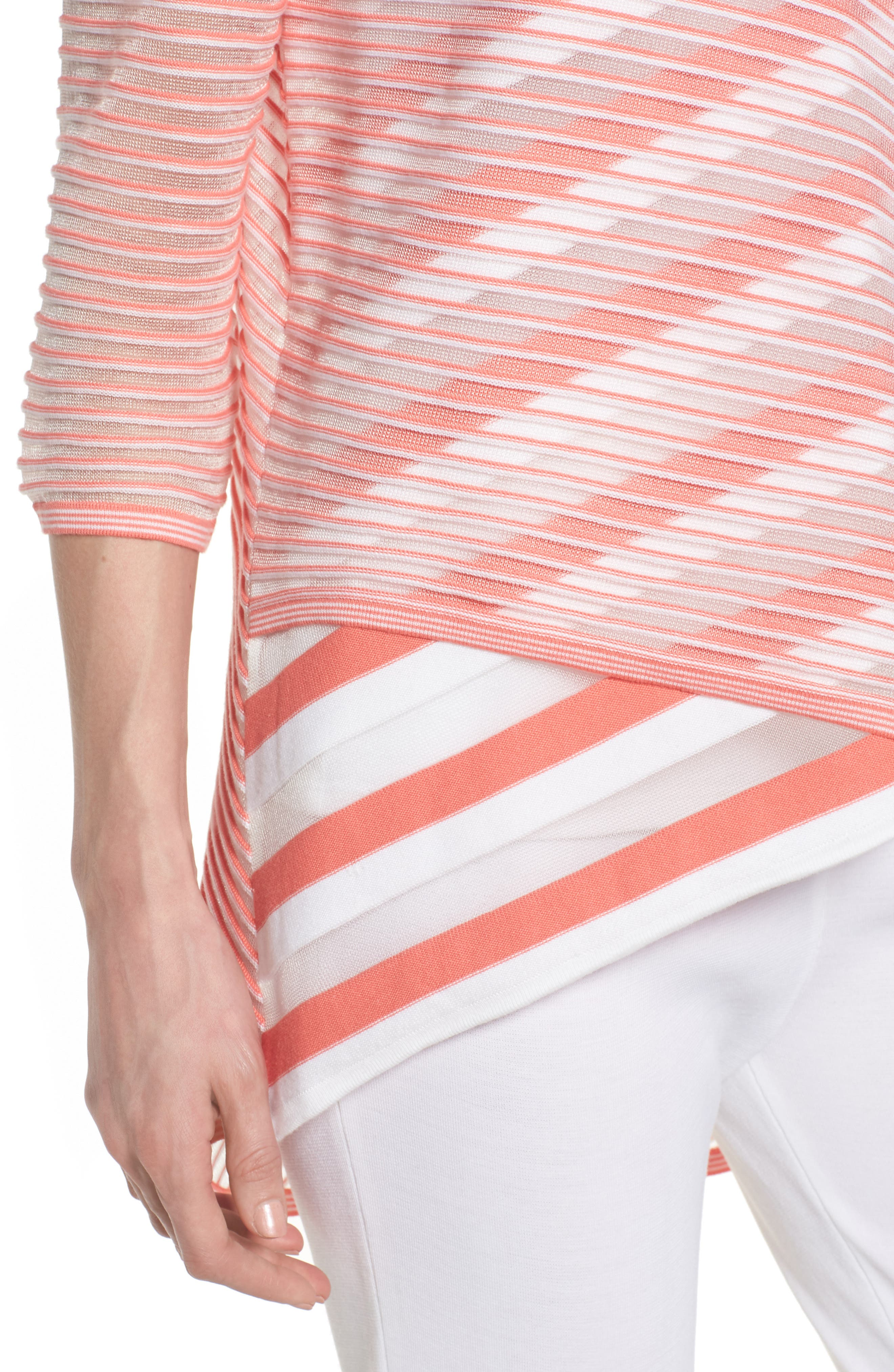 Sheer Stripe Knit Tunic,                             Alternate thumbnail 4, color,                             DAYLILY/ WHITE
