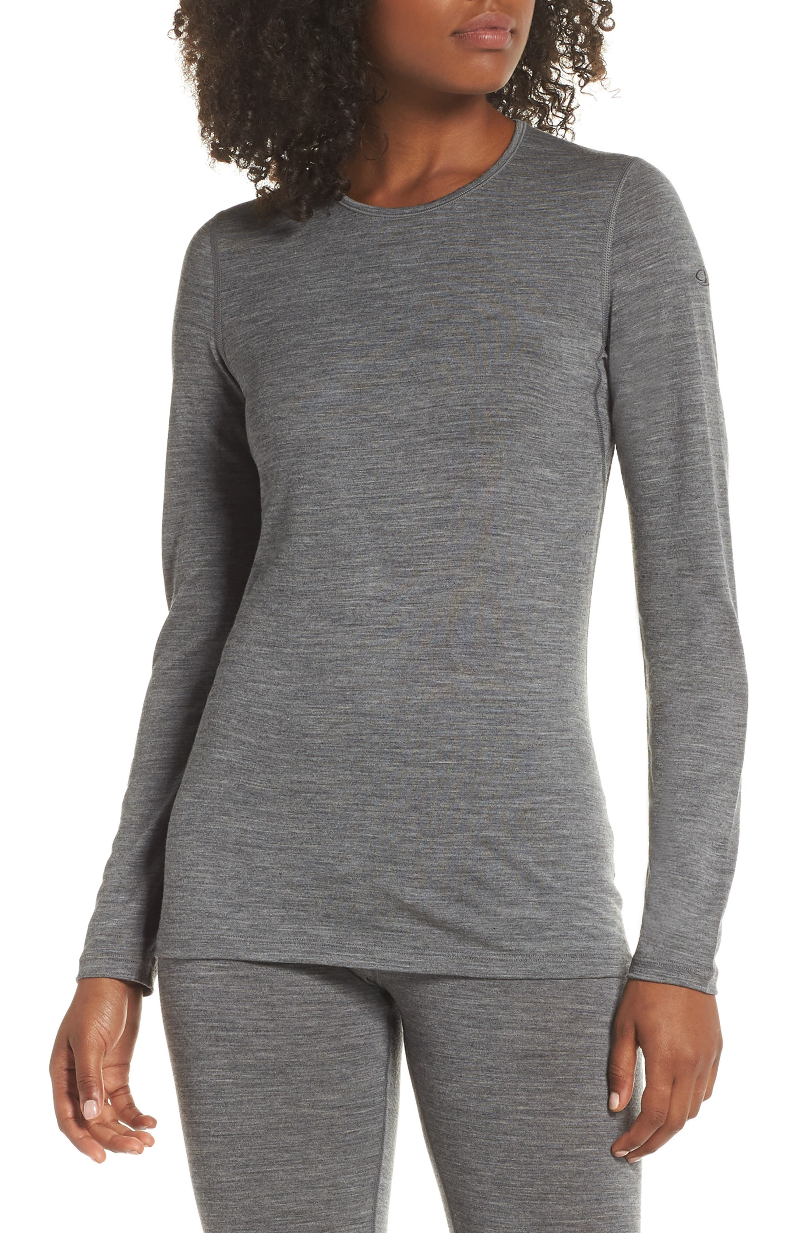 Icebreaker Oasis Long Sleeve Merino Wool Base Layer Tee, Grey