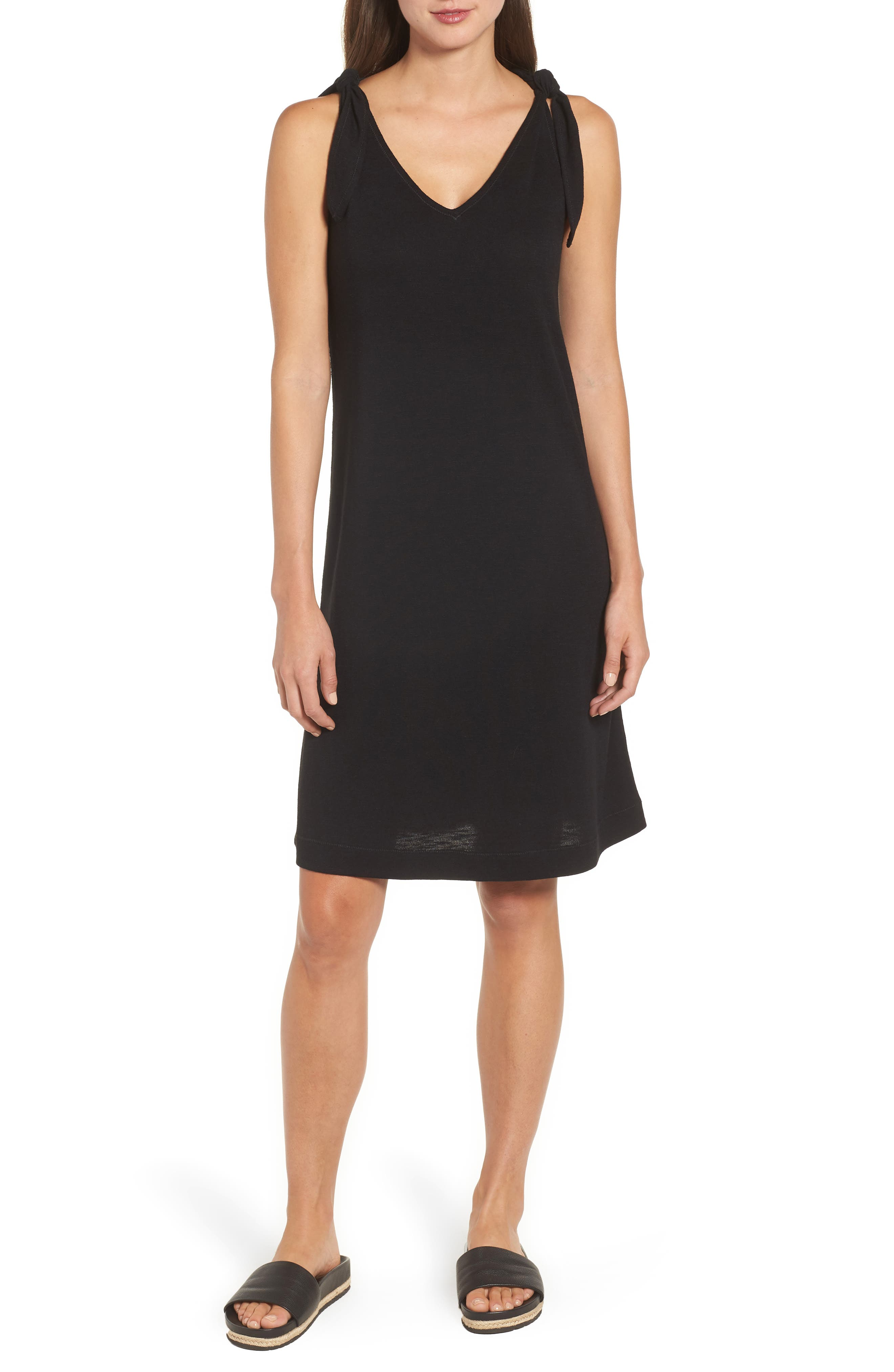 Knot Strap Knit Swing Dress,                         Main,                         color, 001