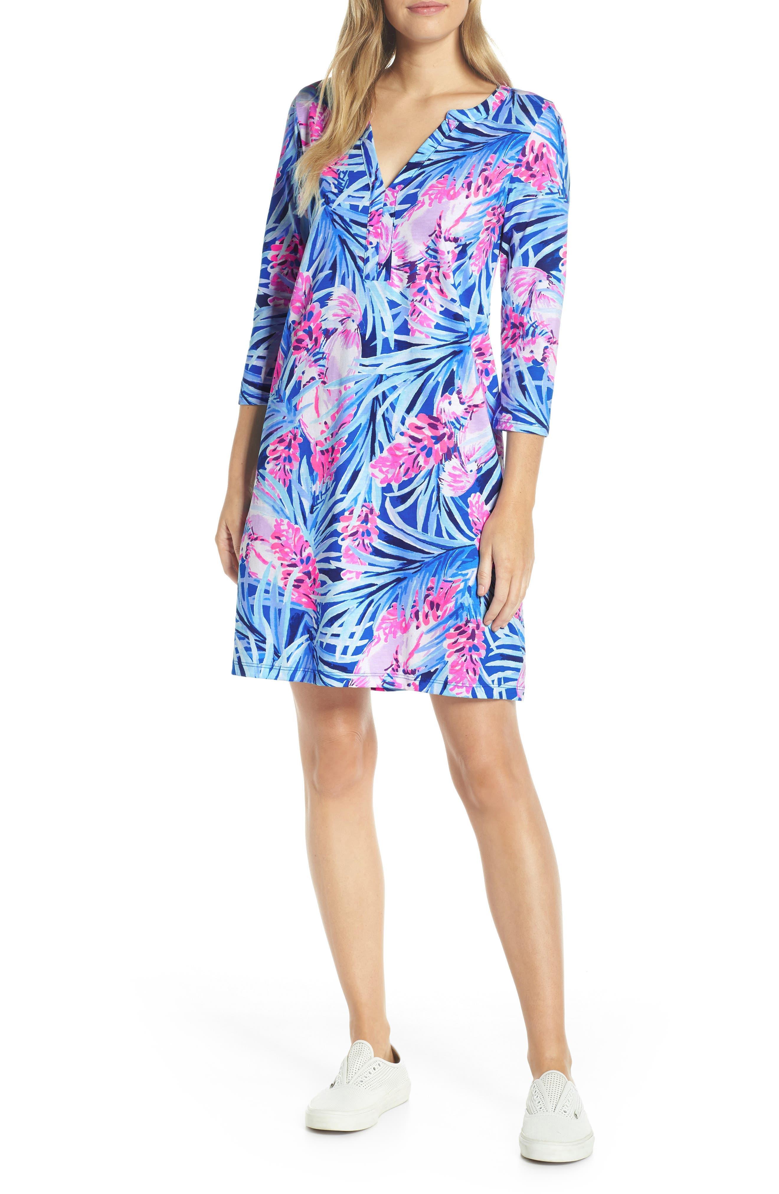 Daphne Shift Dress, Main, color, MR PEACOCK BLUE TWEETHEARTS