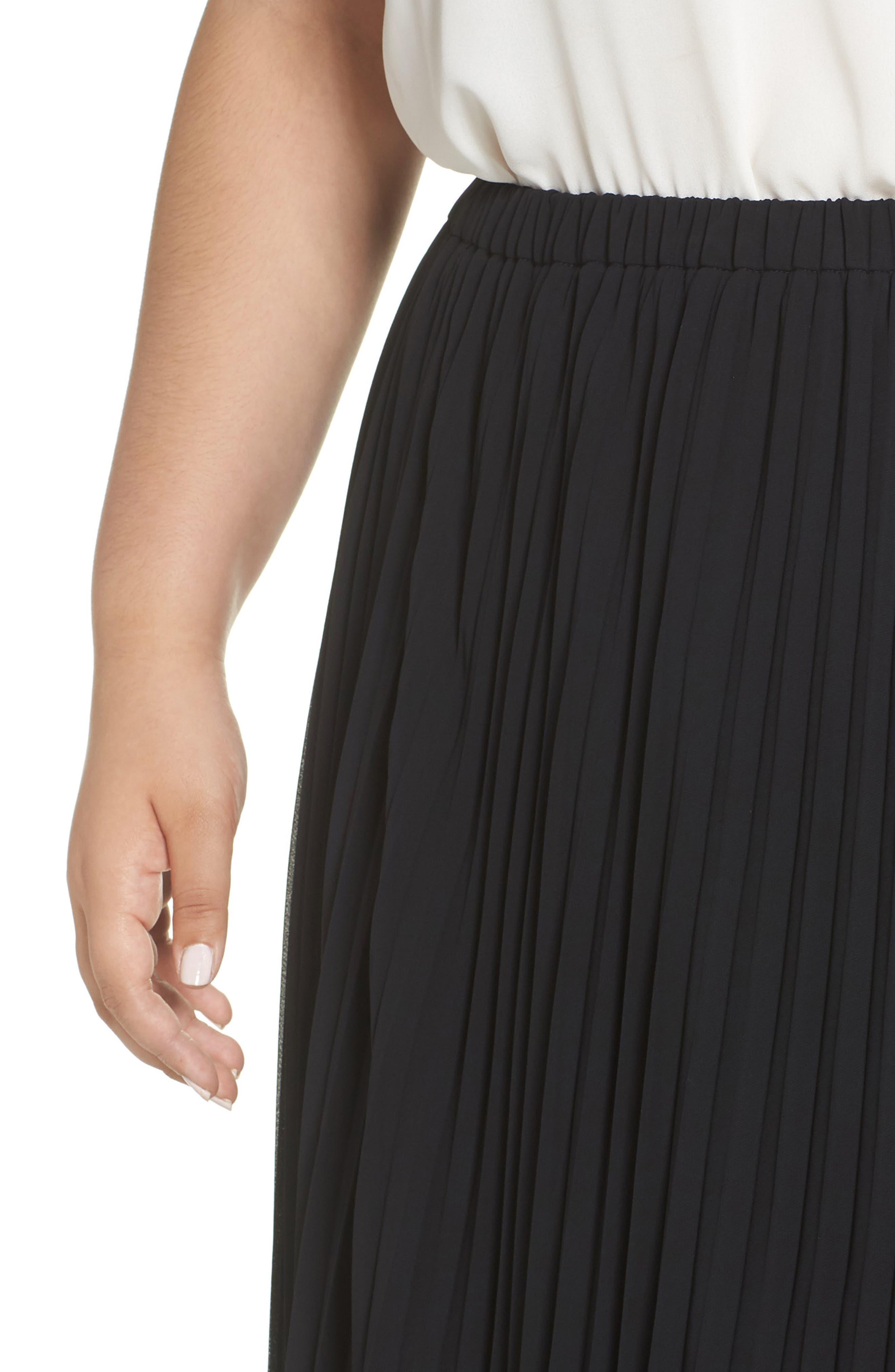 Long Pleated Chiffon Skirt,                             Alternate thumbnail 4, color,                             BLACK
