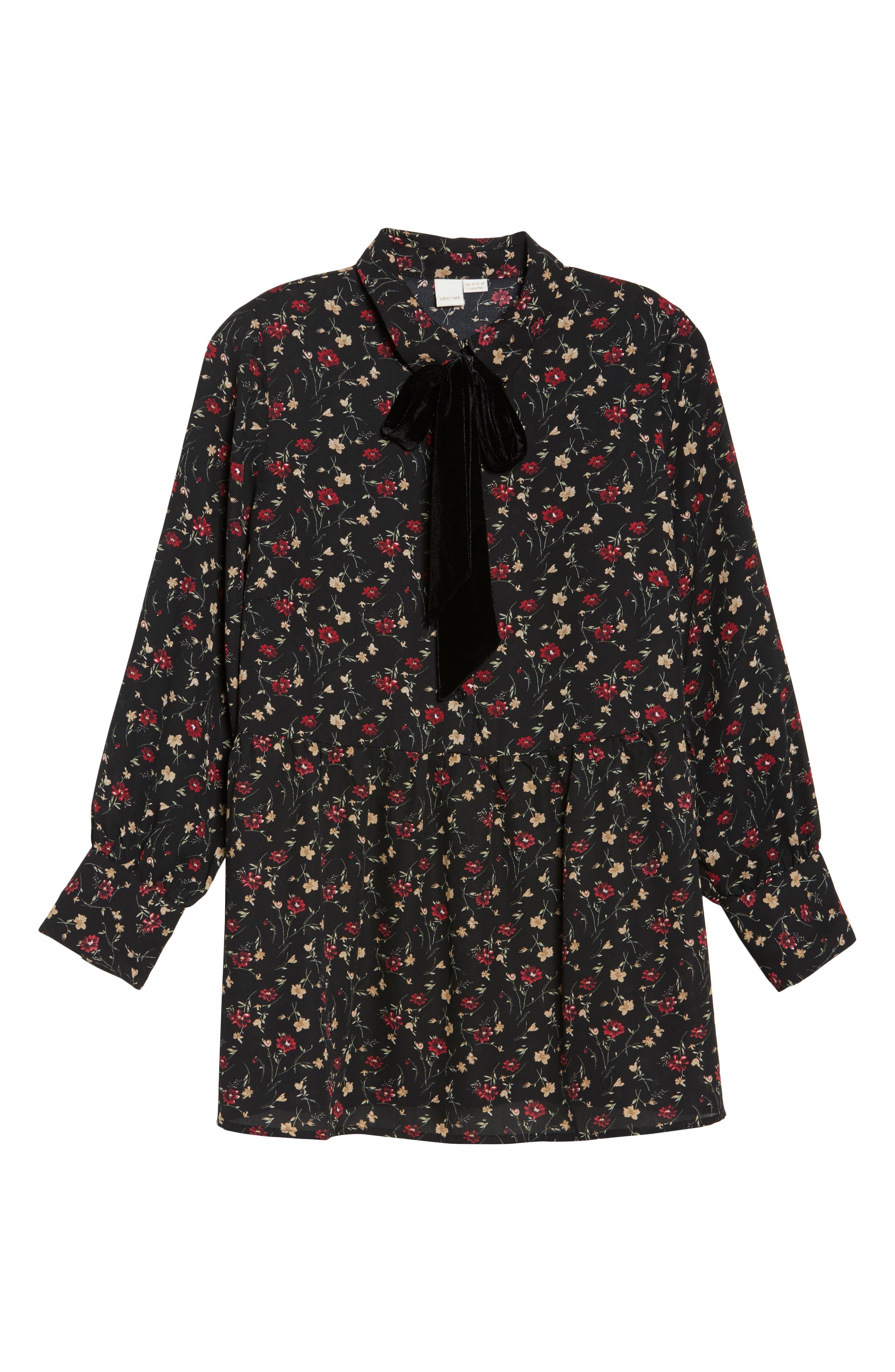 Velvet Tie Floral Blouse,                             Alternate thumbnail 6, color,