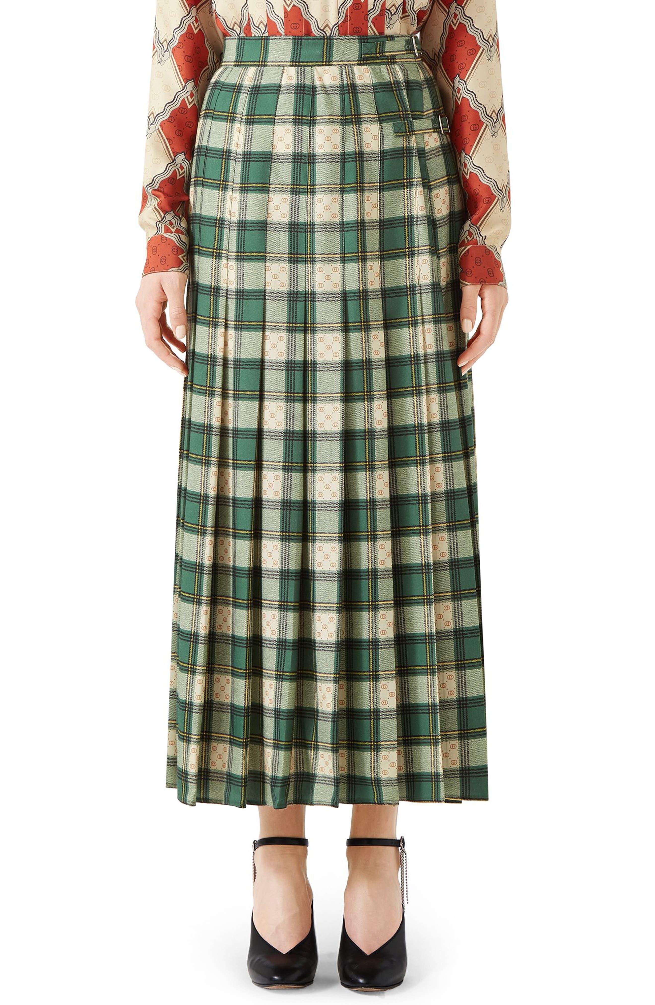 Tartan Check Wool Twill Maxi Skirt,                         Main,                         color, 3741 GREEN/ ROSE BEIGE PRI