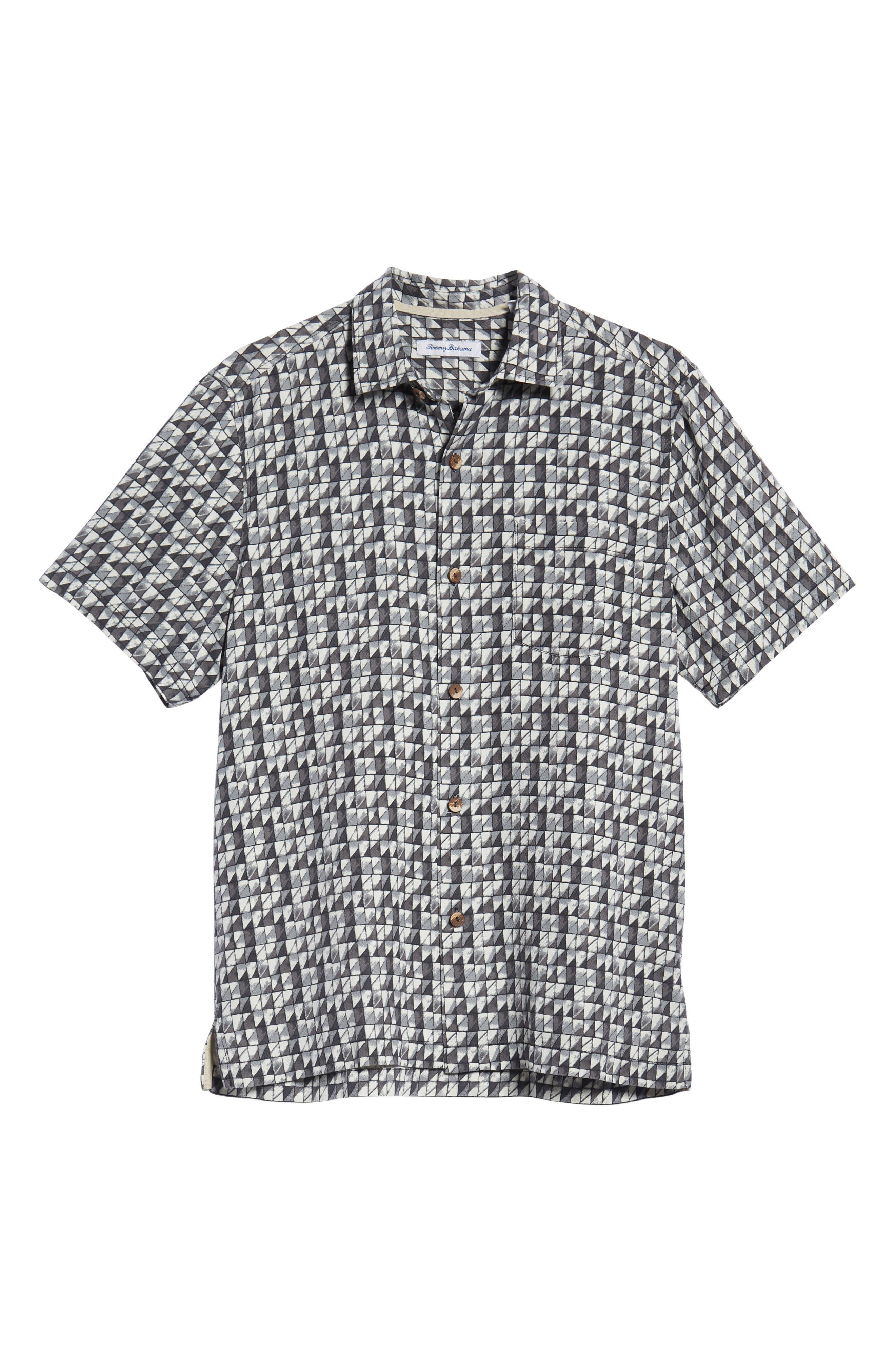 Poquito Geo Print Silk Sport Shirt,                             Alternate thumbnail 6, color,                             BLACK