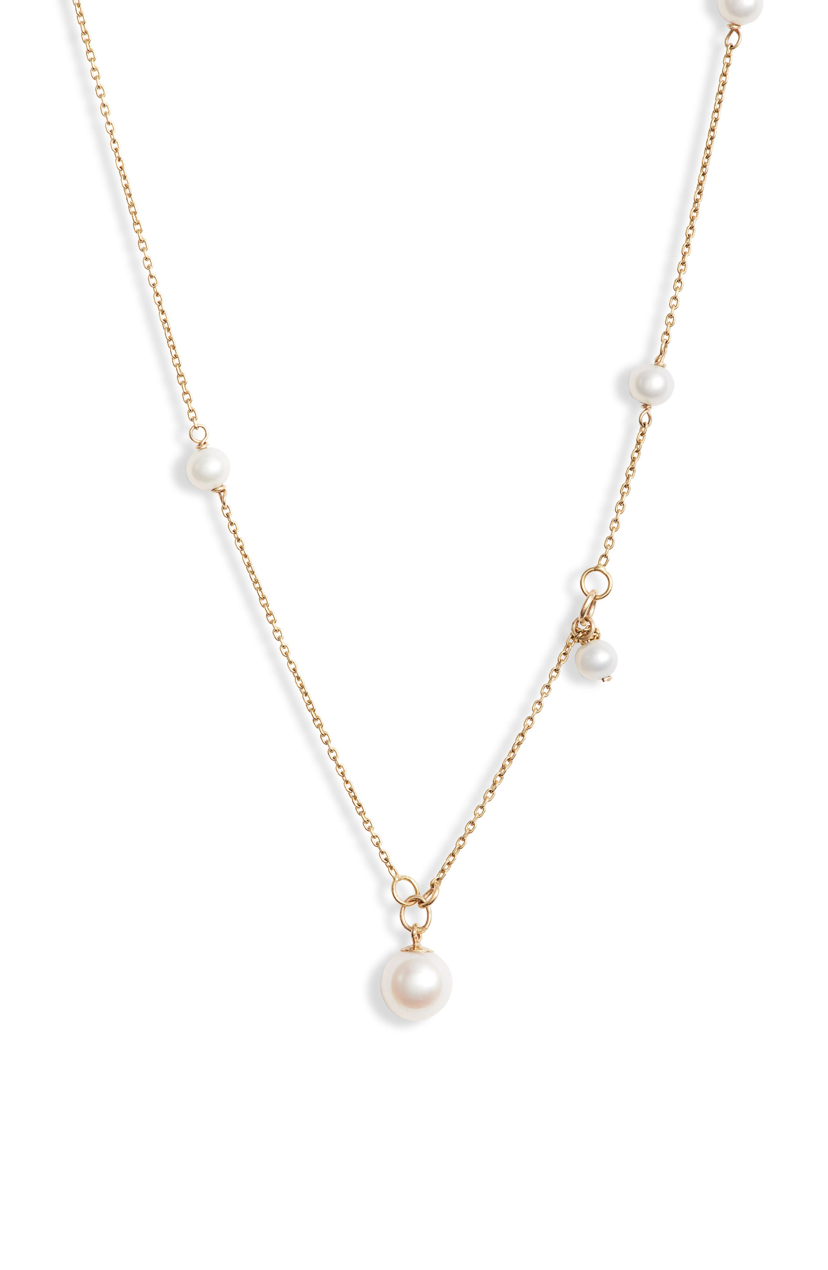 Pearl & Onyx Necklace,                             Alternate thumbnail 2, color,                             YELLOW GOLD/ PEARL