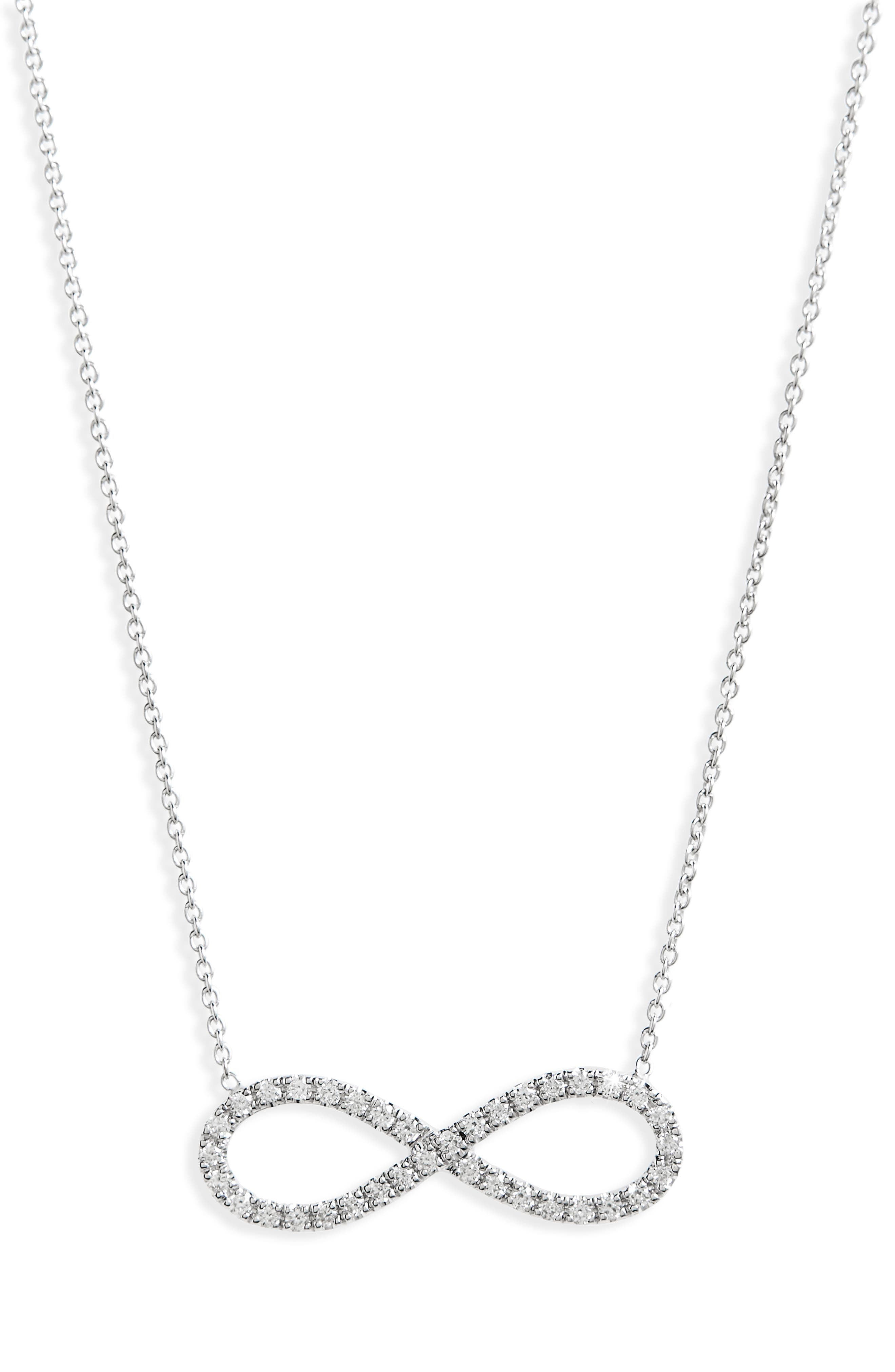 Robert Coin Diamond Infinity Pendant Necklace,                         Main,                         color, WHITE GOLD