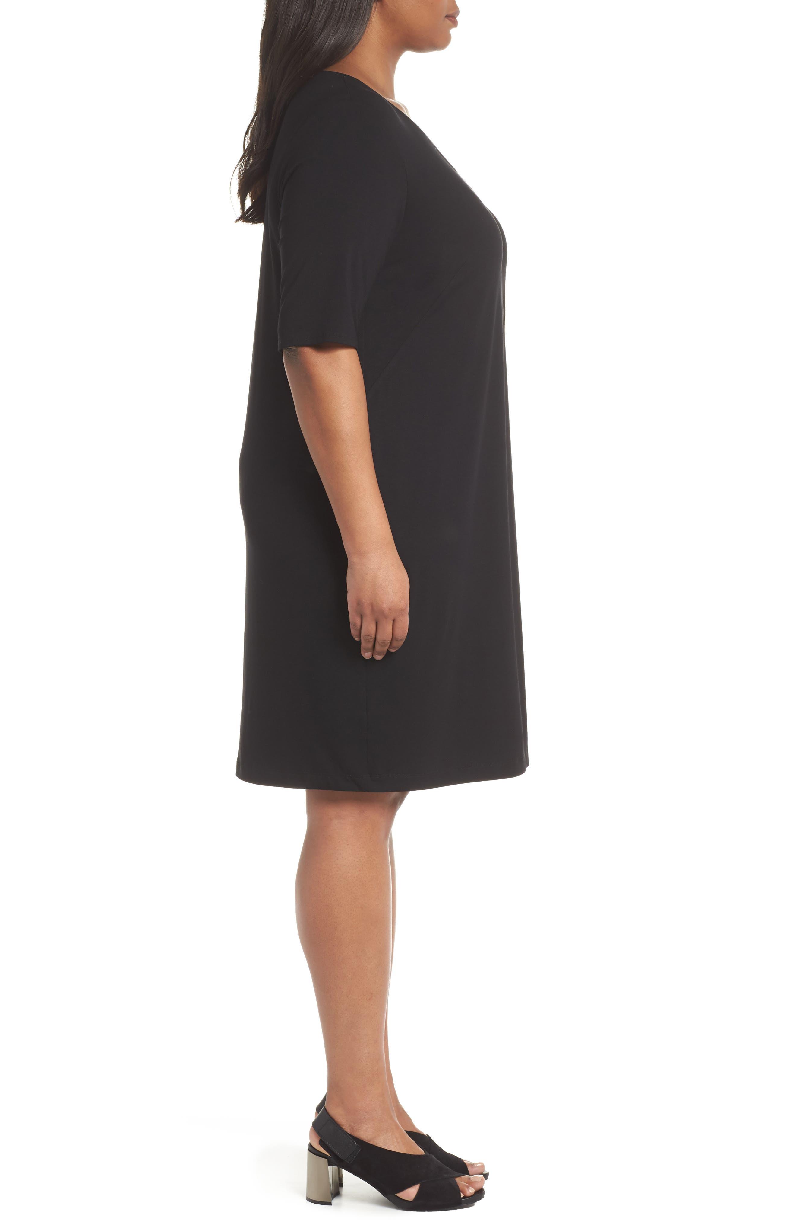 V-Neck Stretch Jersey Shift Dress,                             Alternate thumbnail 12, color,
