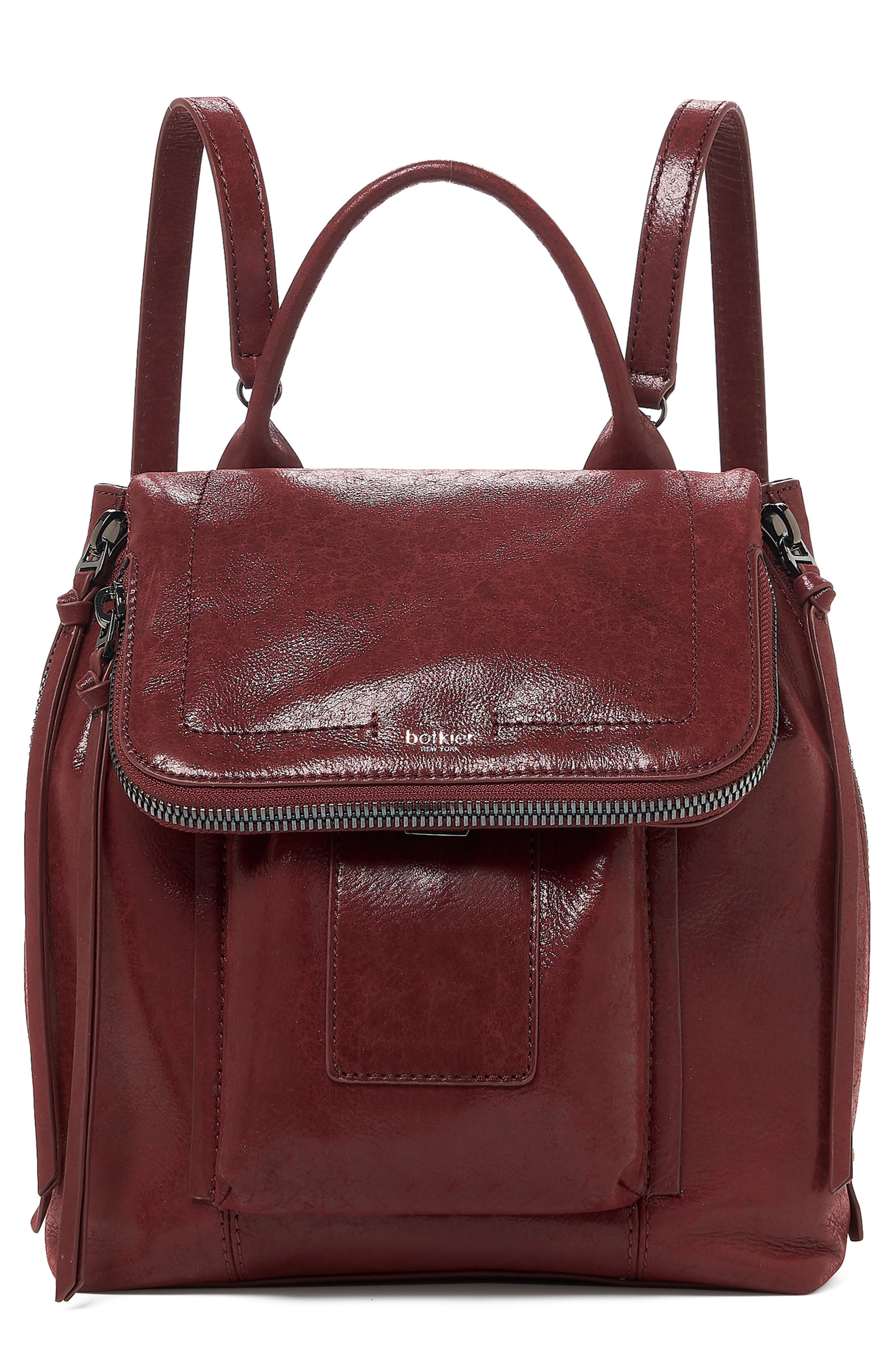 Warren Leather Backpack - Burgundy in Bordeaux