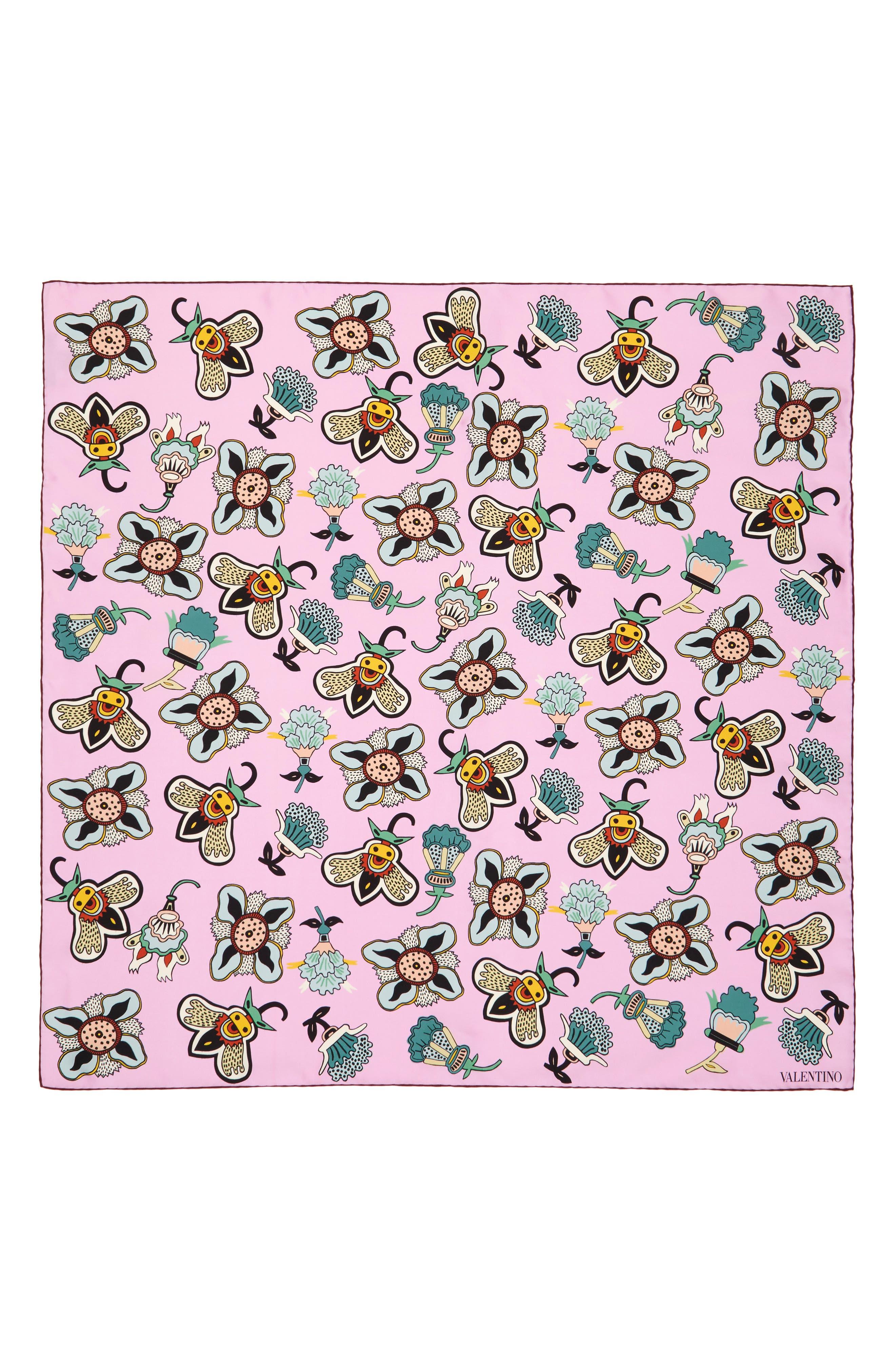 Pop Flower Silk Scarf,                             Alternate thumbnail 6, color,