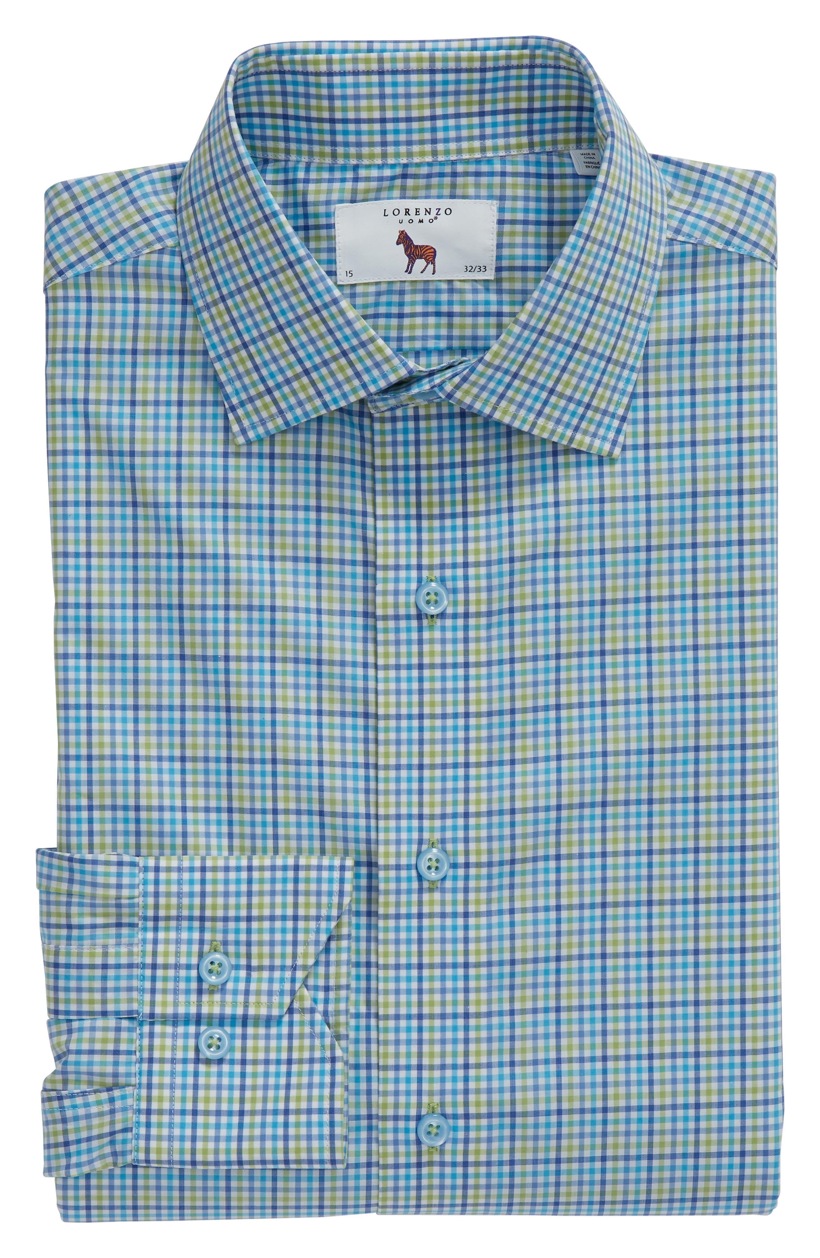 Trim Fit Check Dress Shirt,                             Alternate thumbnail 5, color,                             420