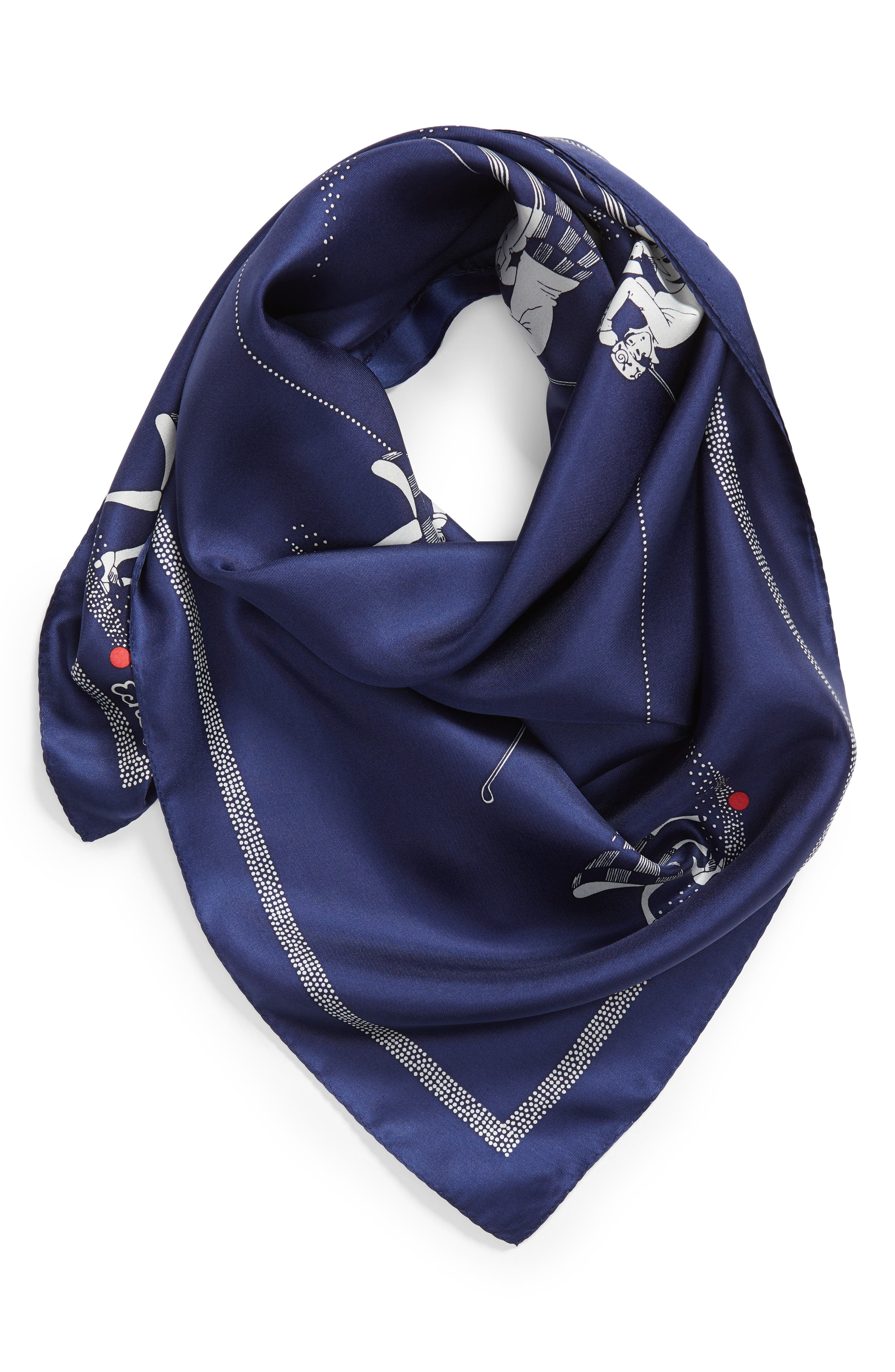 Golf Day Square Silk Scarf,                             Alternate thumbnail 2, color,                             MARITIME NAVY