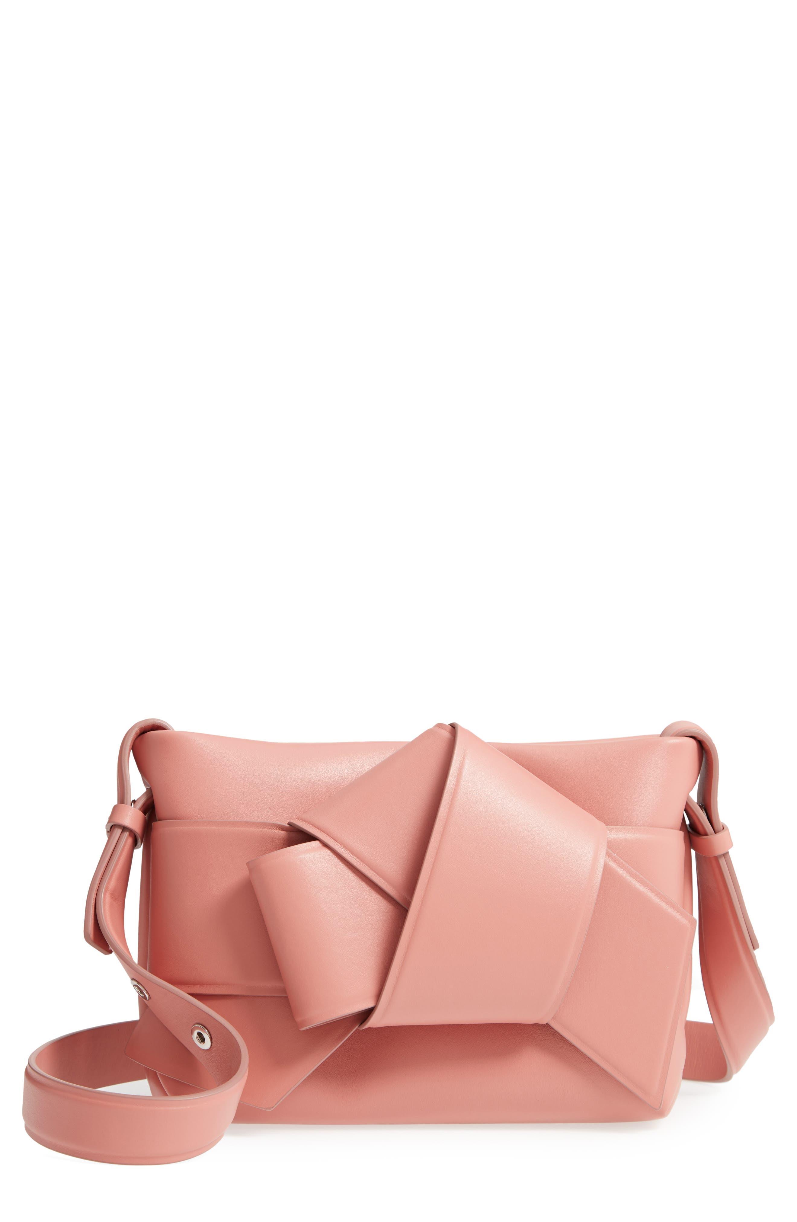 Musubi Knot Leather Handbag, Main, color, PINK