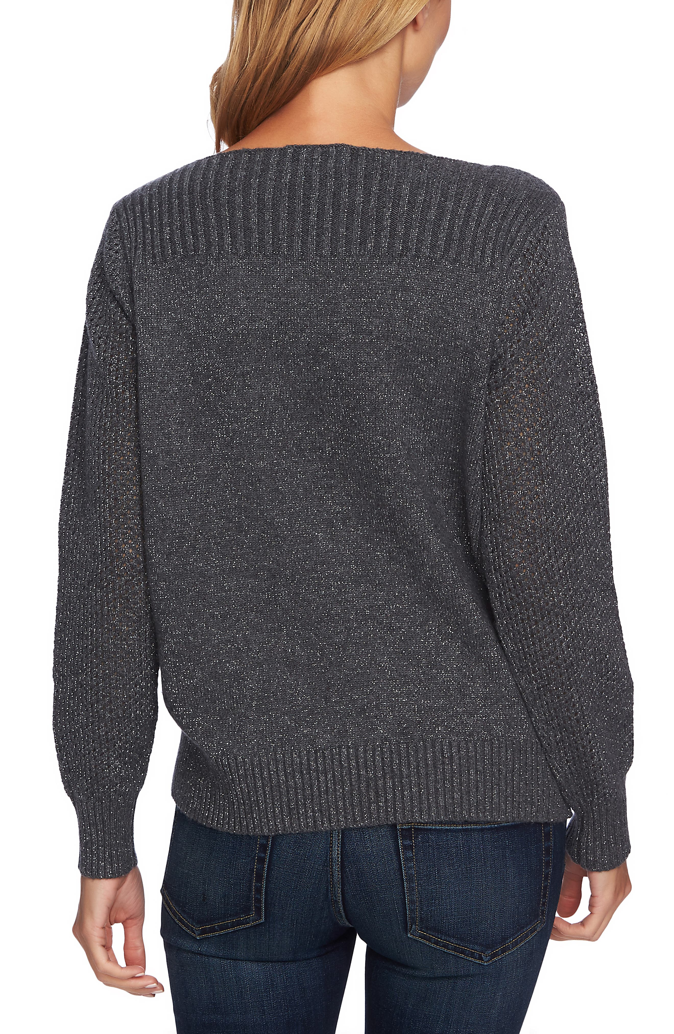 Metallic Knit Sweater,                             Alternate thumbnail 3, color,                             MED HEATHER GREY