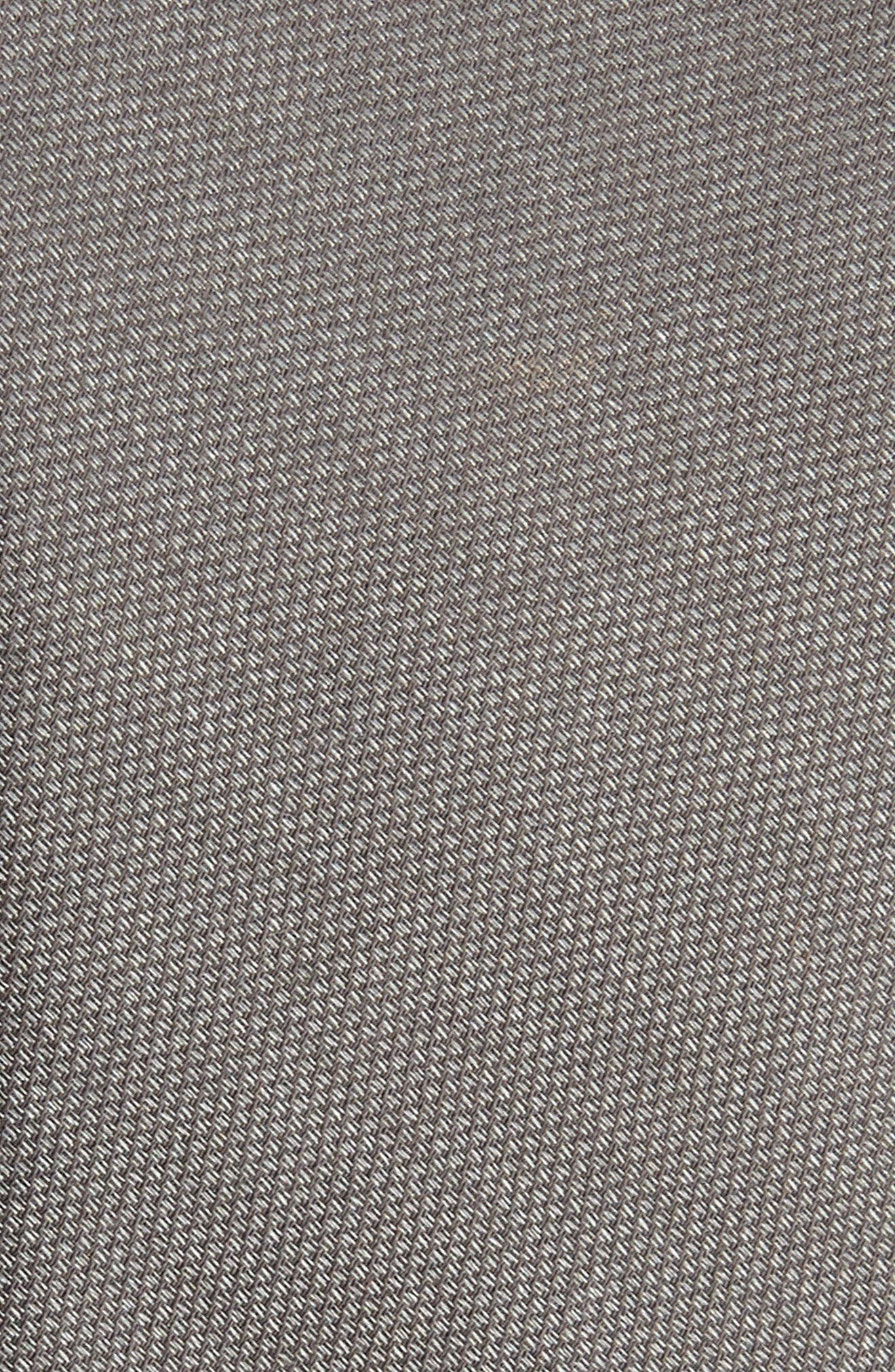Solid Cotton & Silk Tie,                             Alternate thumbnail 2, color,                             MEDIUM GREY