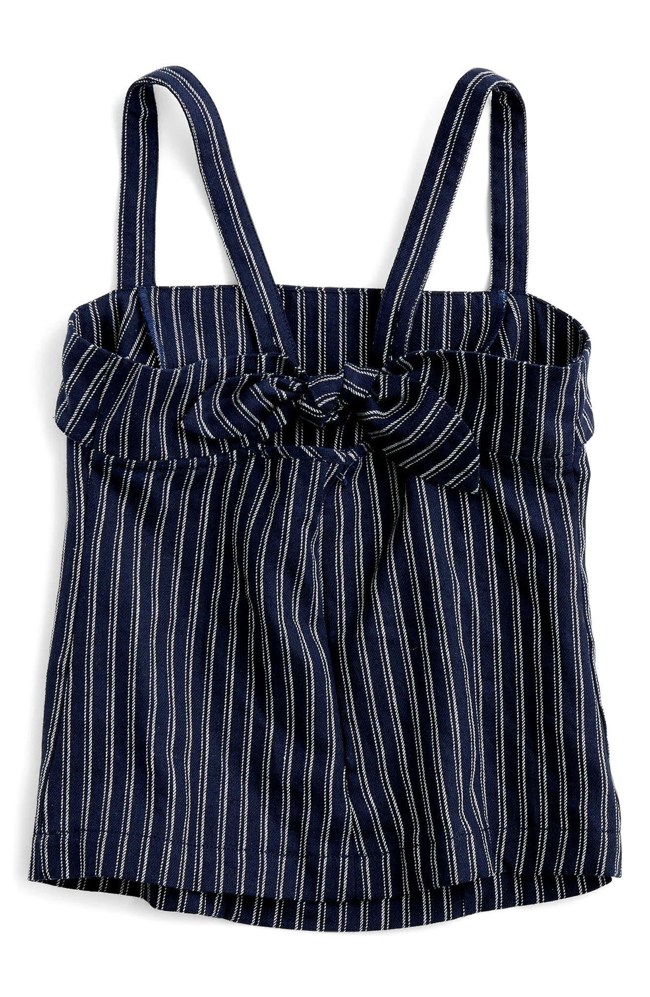 J.CREW,                             Turnover Stripe Linen & Cotton Top,                             Alternate thumbnail 3, color,                             400