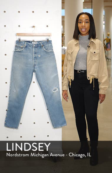 Studded High Waist Crop Repurposed Jeans, sales video thumbnail