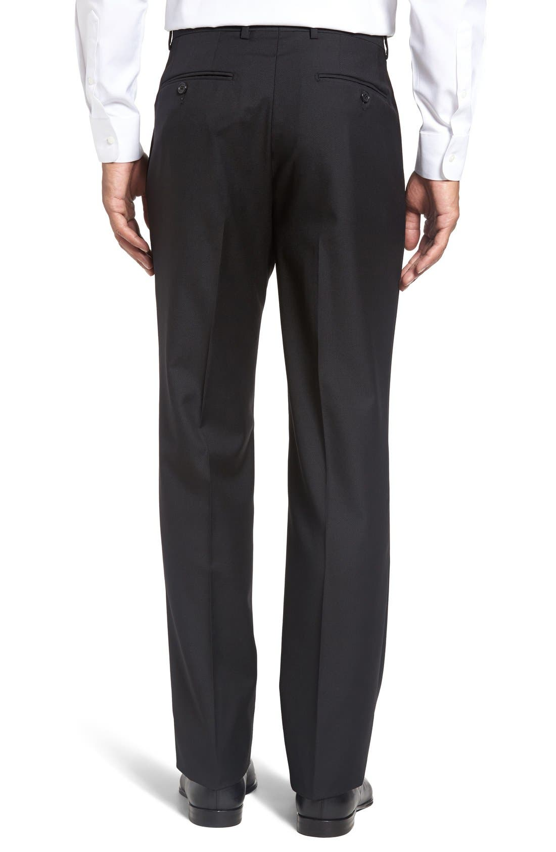 Flat Front Twill Wool Trousers,                             Alternate thumbnail 4, color,                             BLACK