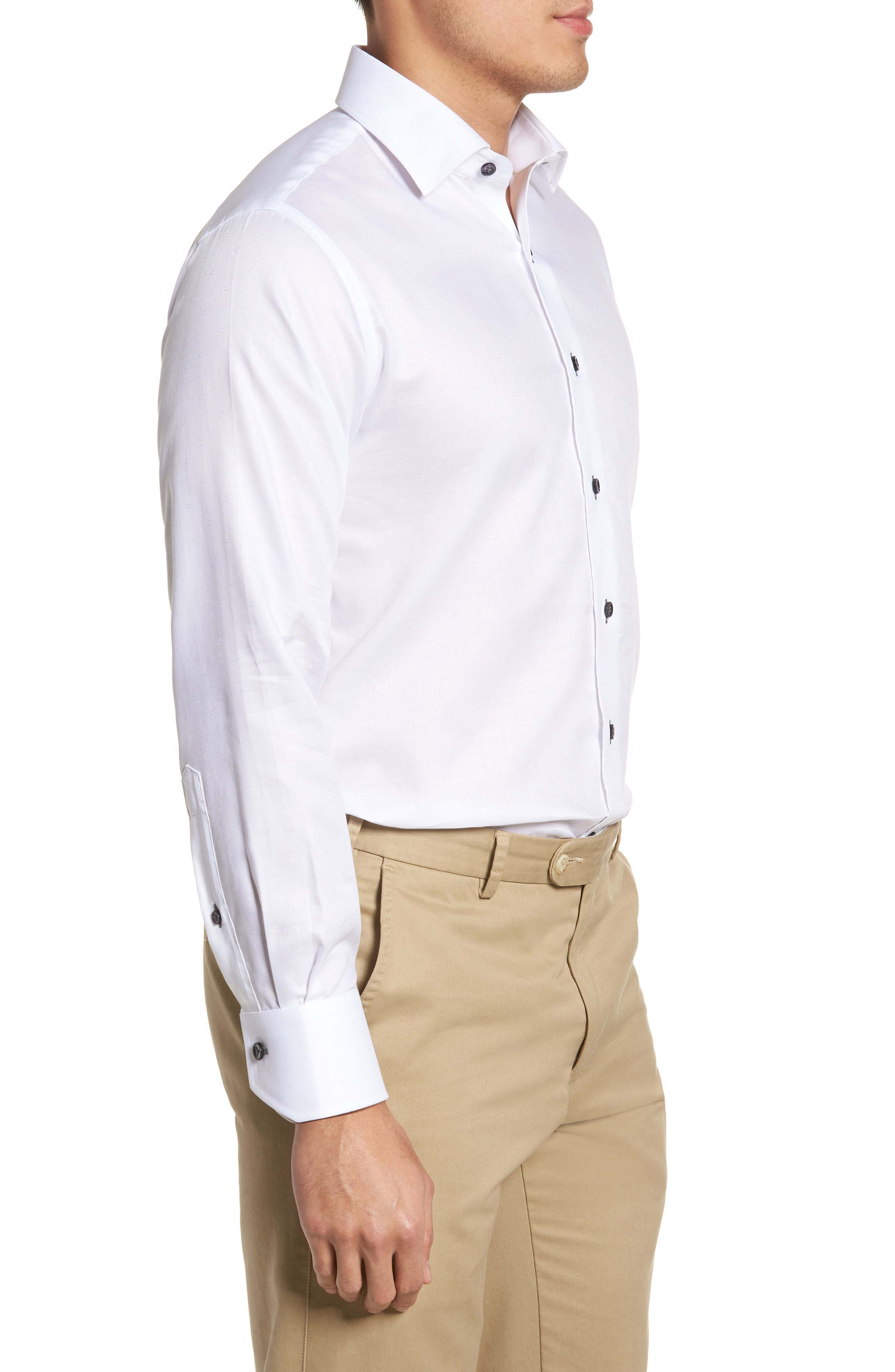 Trim Fit Textured Dress Shirt,                             Alternate thumbnail 4, color,                             WHITE
