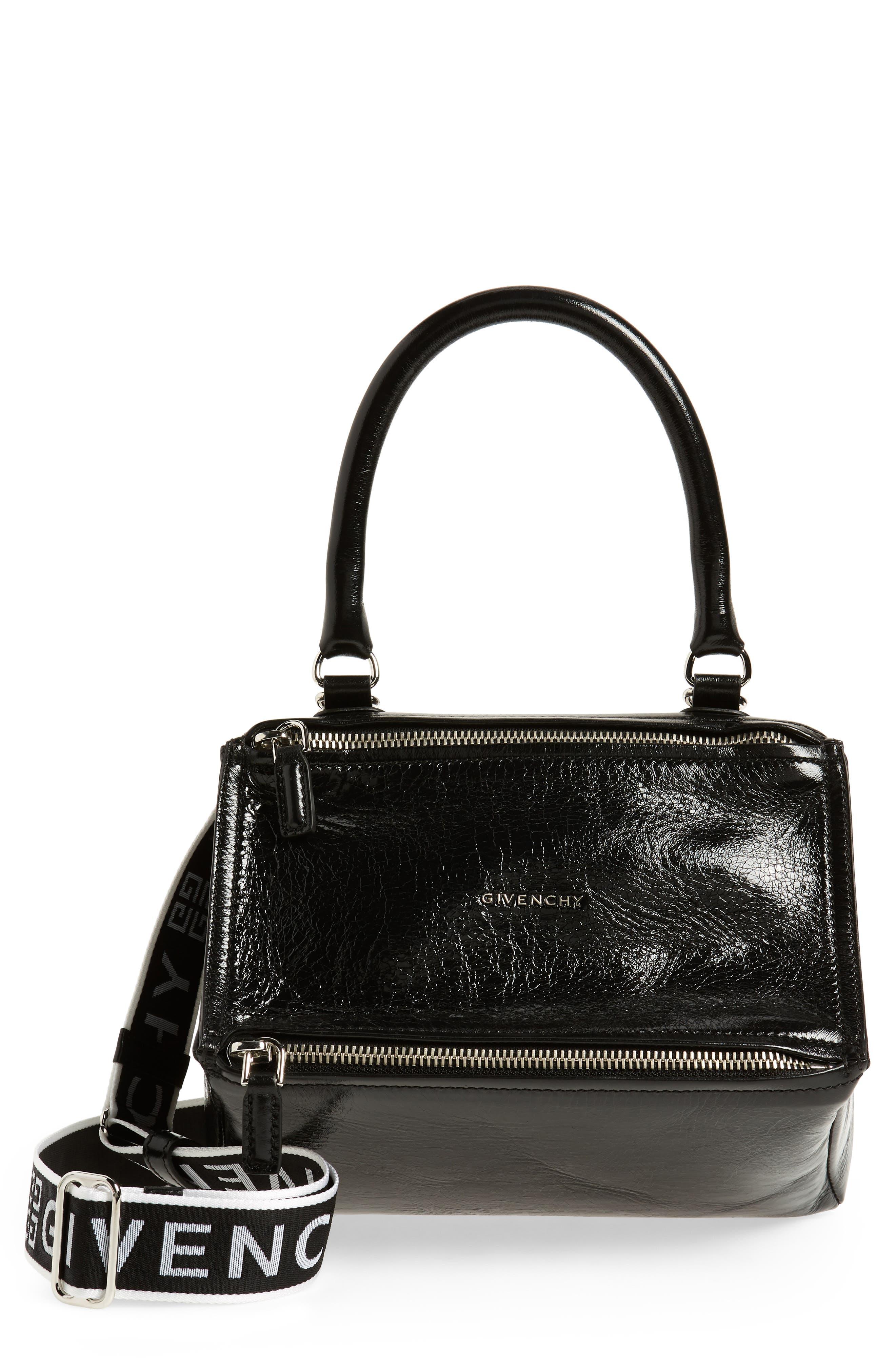 Small Pandora Leather Shoulder Bag,                         Main,                         color, BLACK