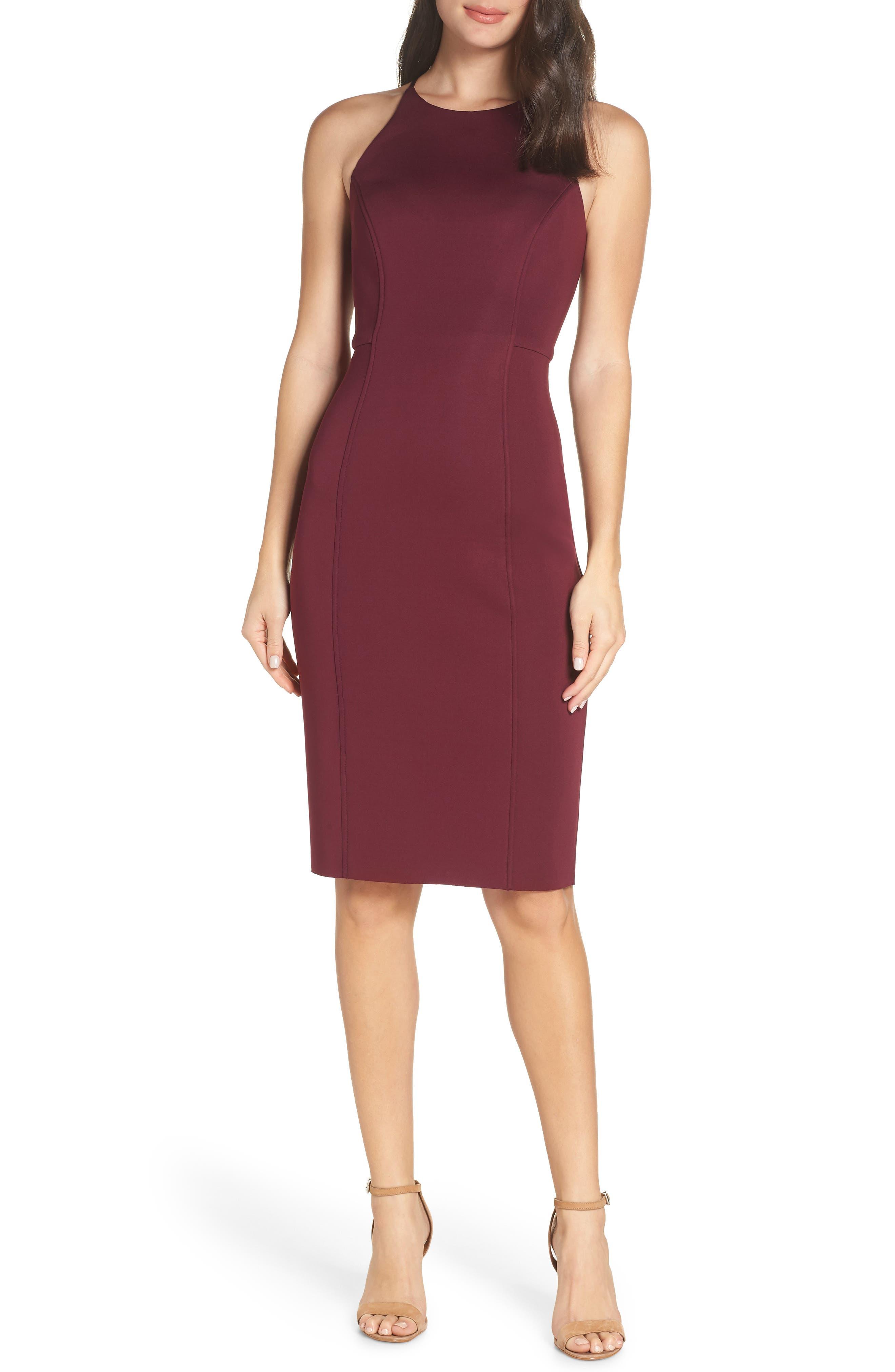 CHELSEA28,                             Scuba Sheath Dress,                             Main thumbnail 1, color,                             BURGUNDY