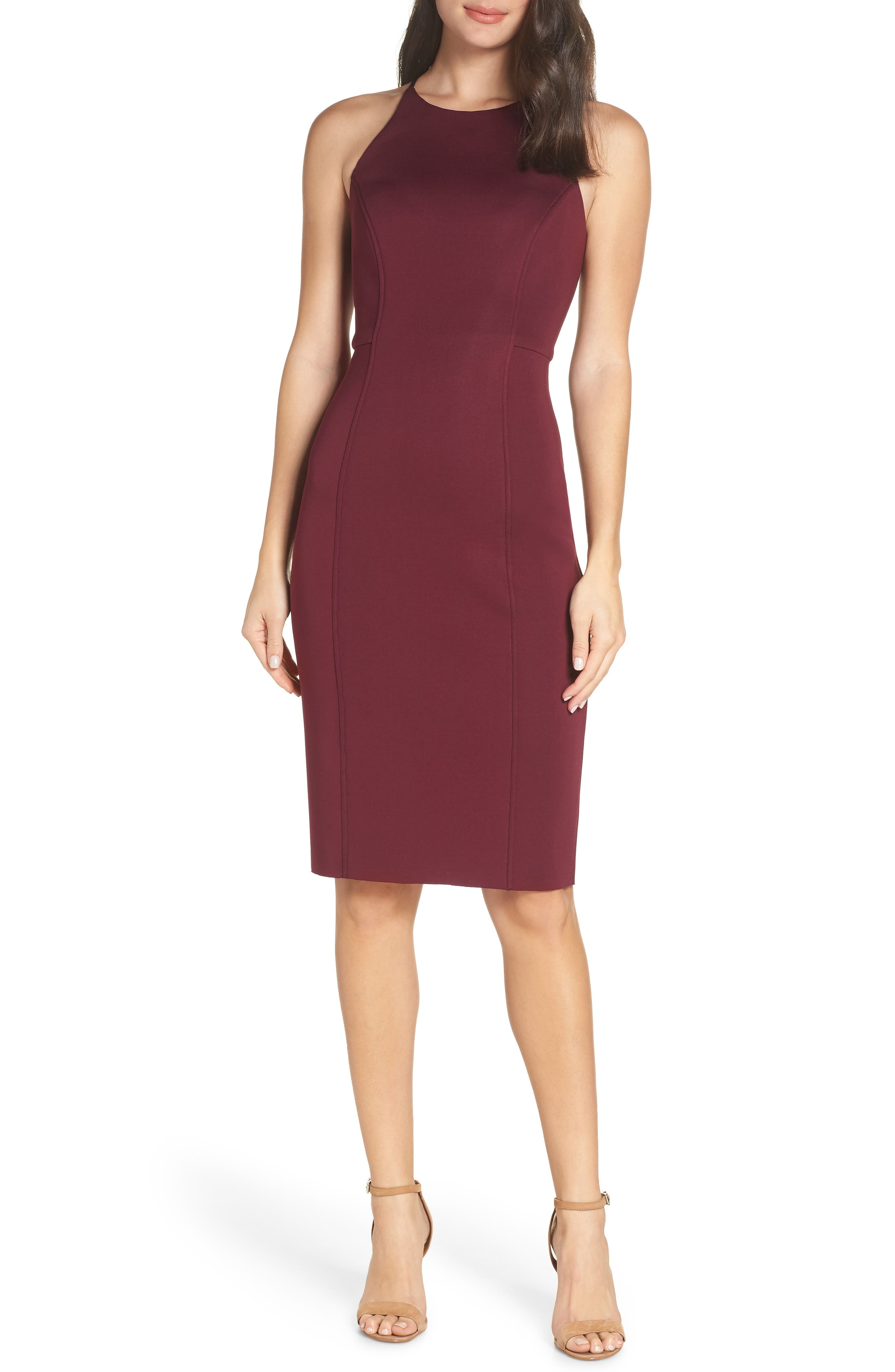 CHELSEA28 Scuba Sheath Dress, Main, color, BURGUNDY