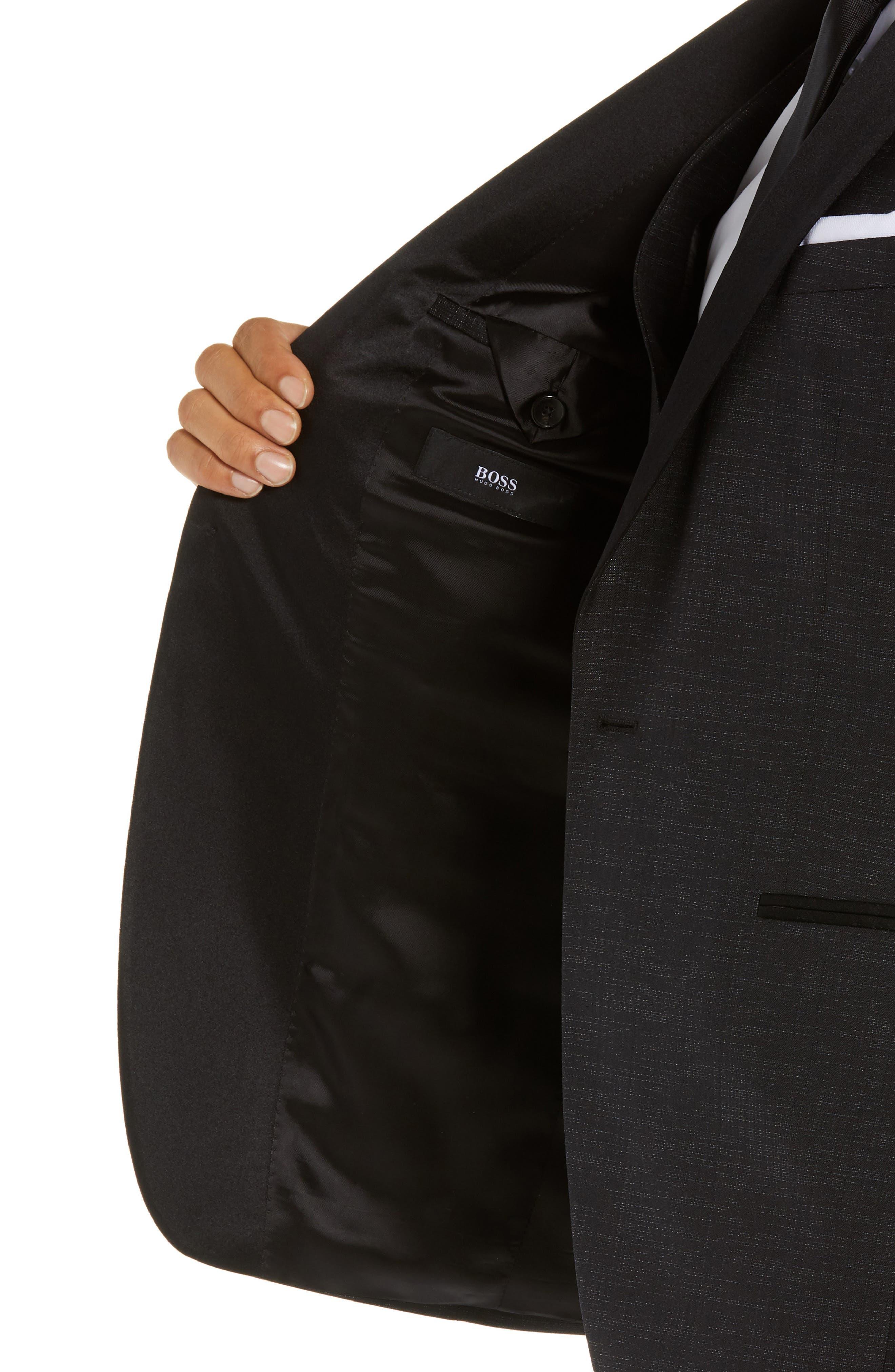 BOSS,                             Rendal/Wilden Slim Fit Three-Piece Tuxedo,                             Alternate thumbnail 4, color,                             BLACK