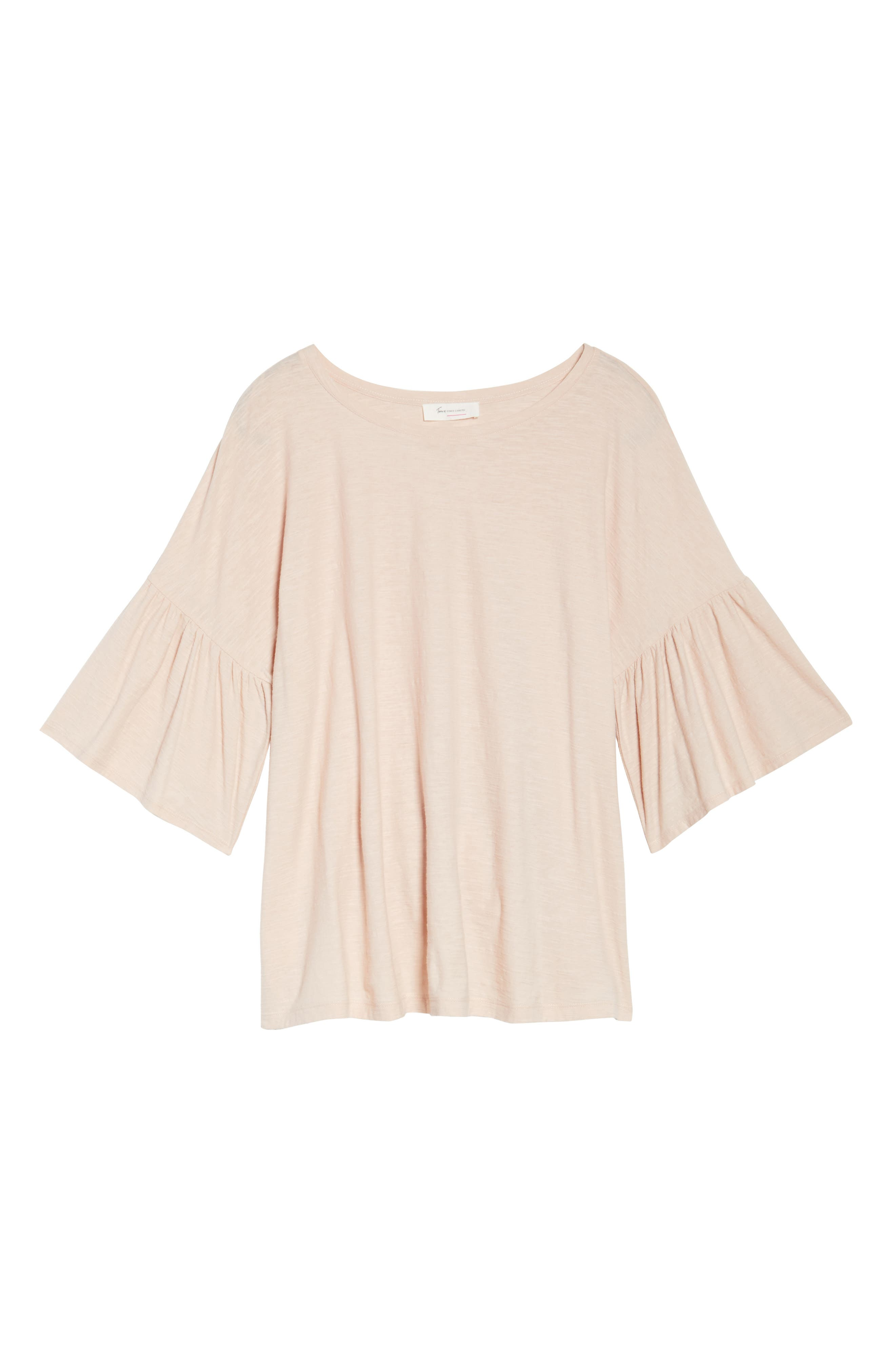 Vince Camuto Relaxed Bell Sleeve Cotton Tee,                             Alternate thumbnail 6, color,                             651