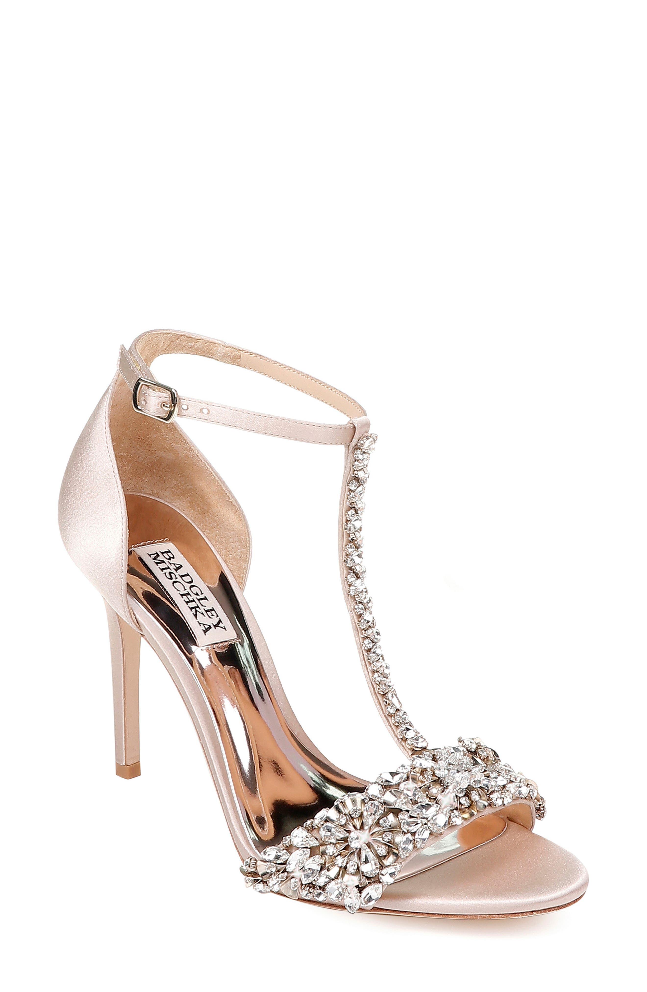 Crystal Embellished Sandal,                         Main,                         color, NUDE SATIN