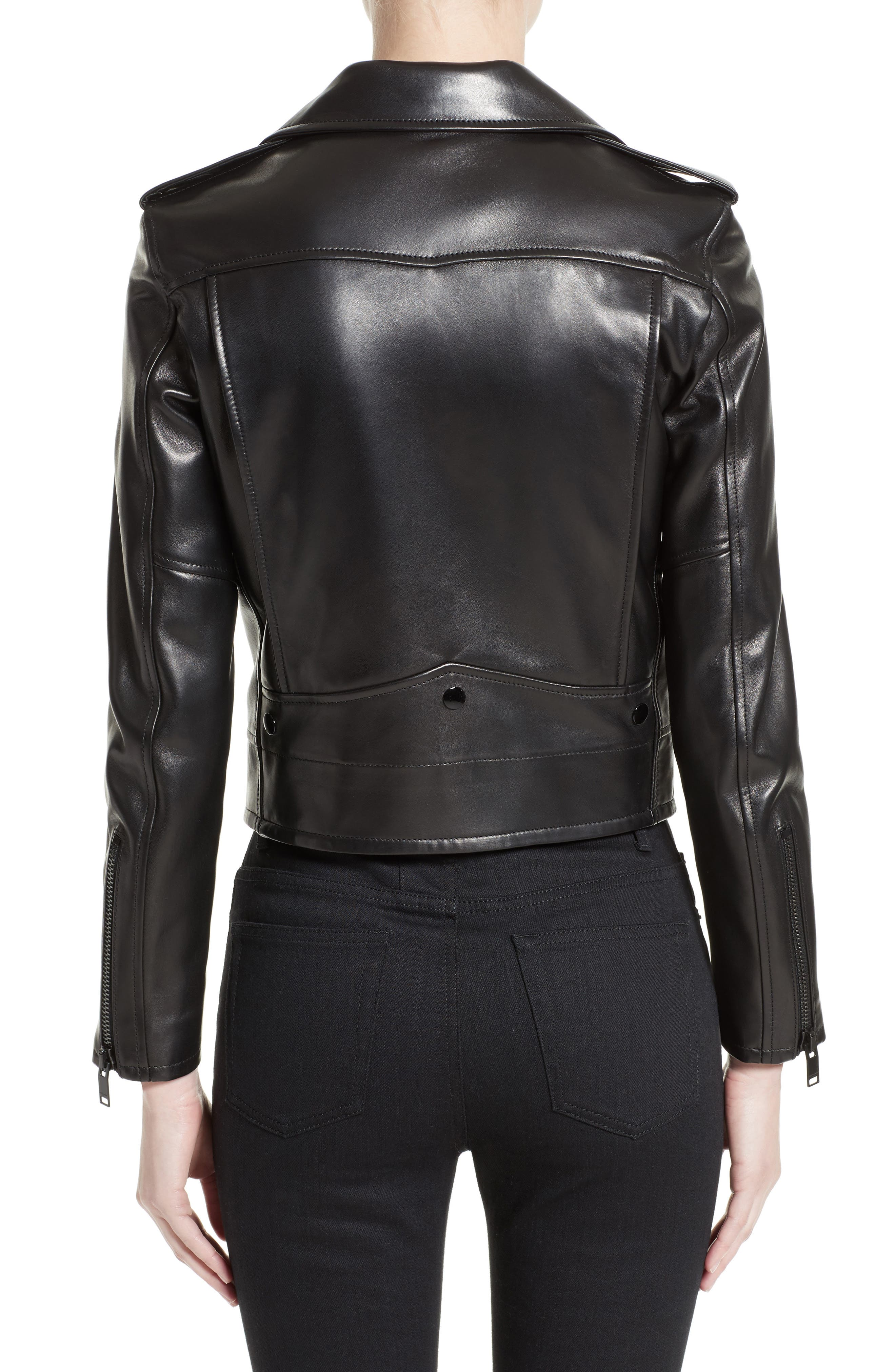 Leather Moto Jacket,                             Alternate thumbnail 2, color,                             GRANITO