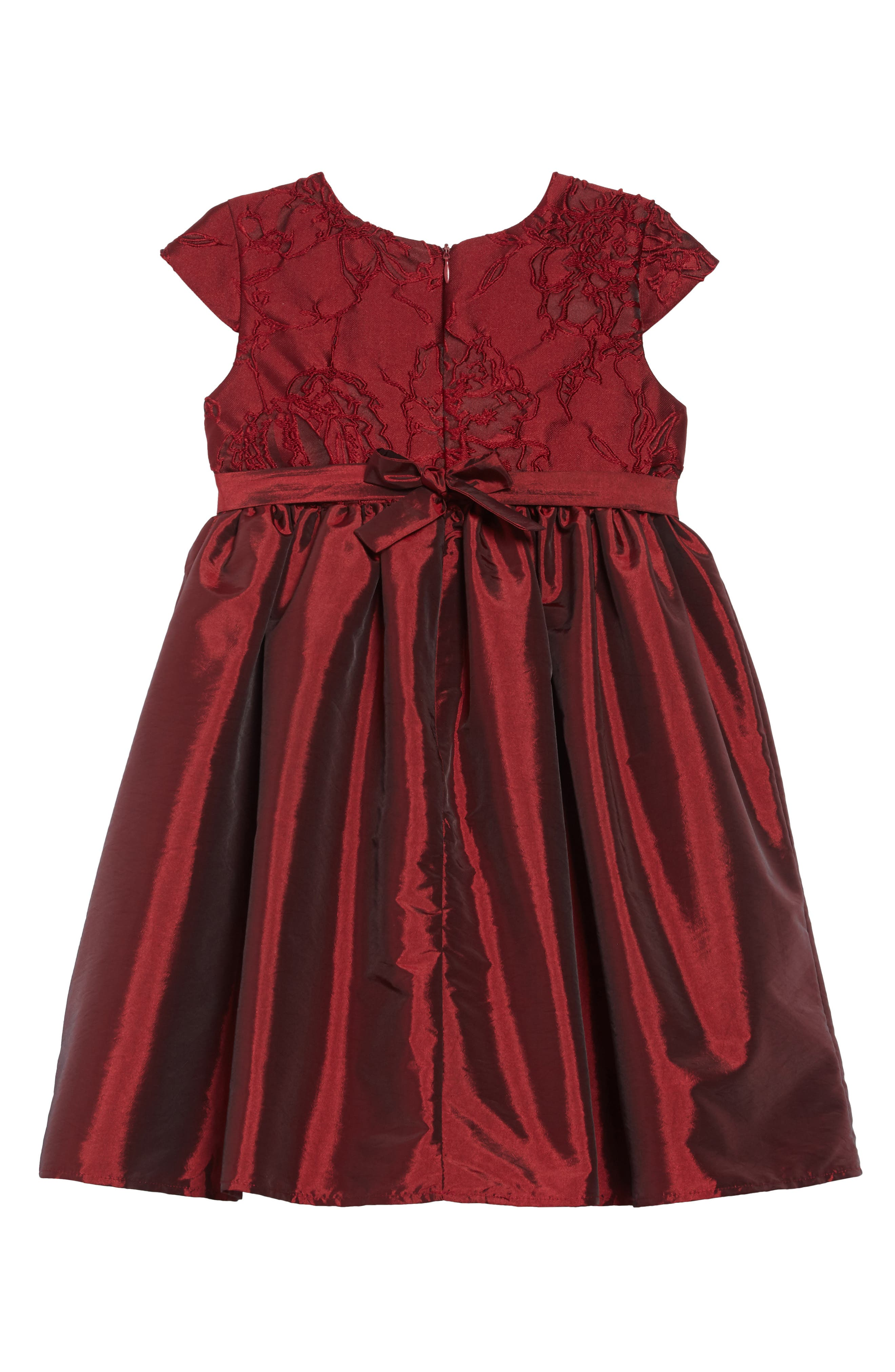 Ruby Spice Lace & Taffeta Dress,                             Alternate thumbnail 2, color,                             BURGUNDY