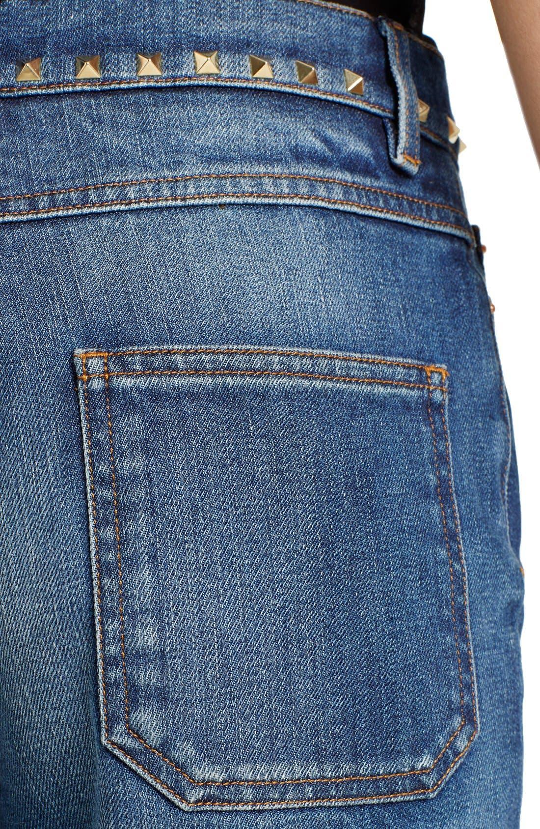 Studded Wide Leg Jeans,                             Alternate thumbnail 6, color,                             MEDIUM BLUE