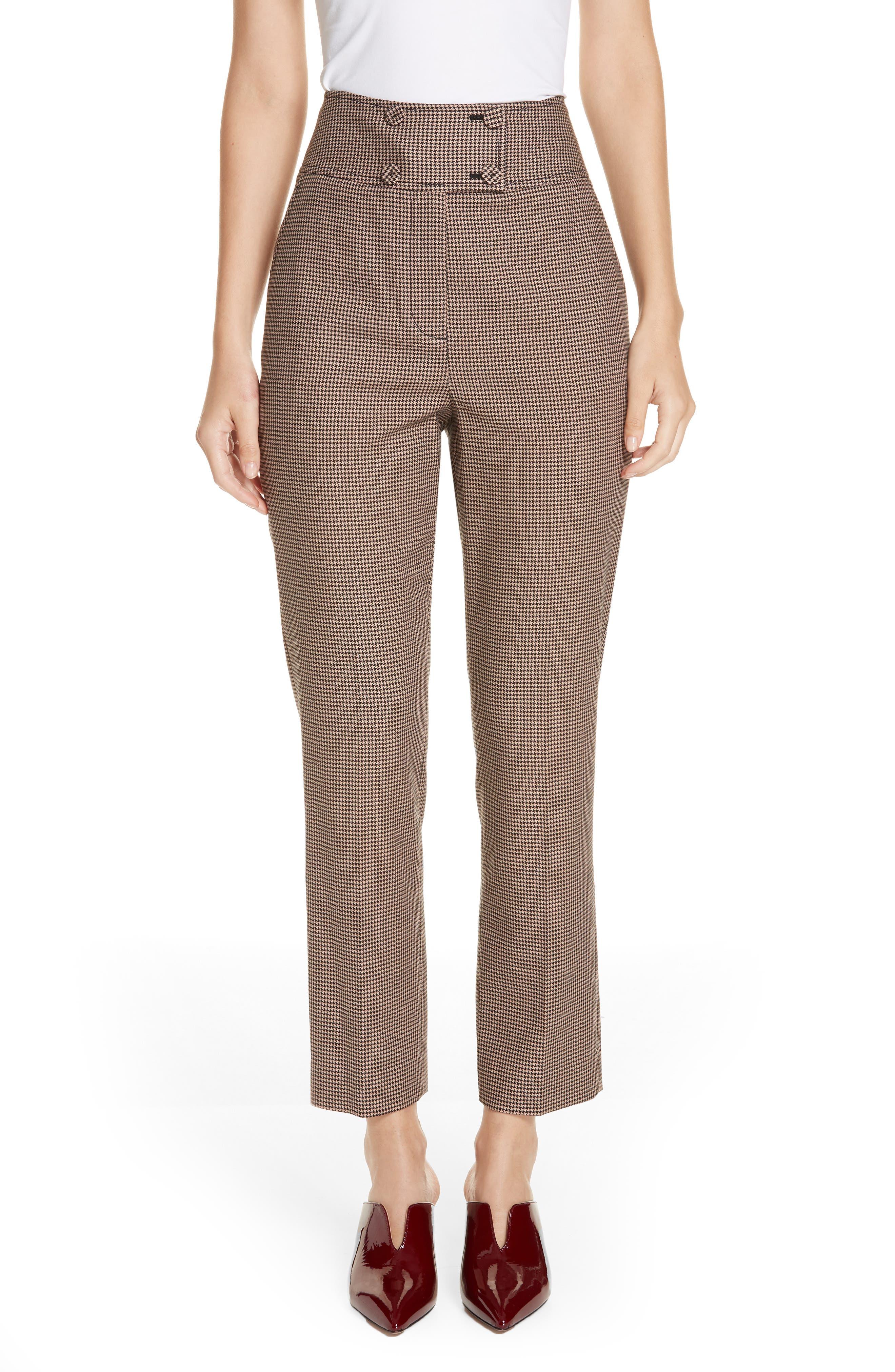Houndstooth Check Stretch Cotton Blend Pants,                         Main,                         color, CAMEL/ BLACK