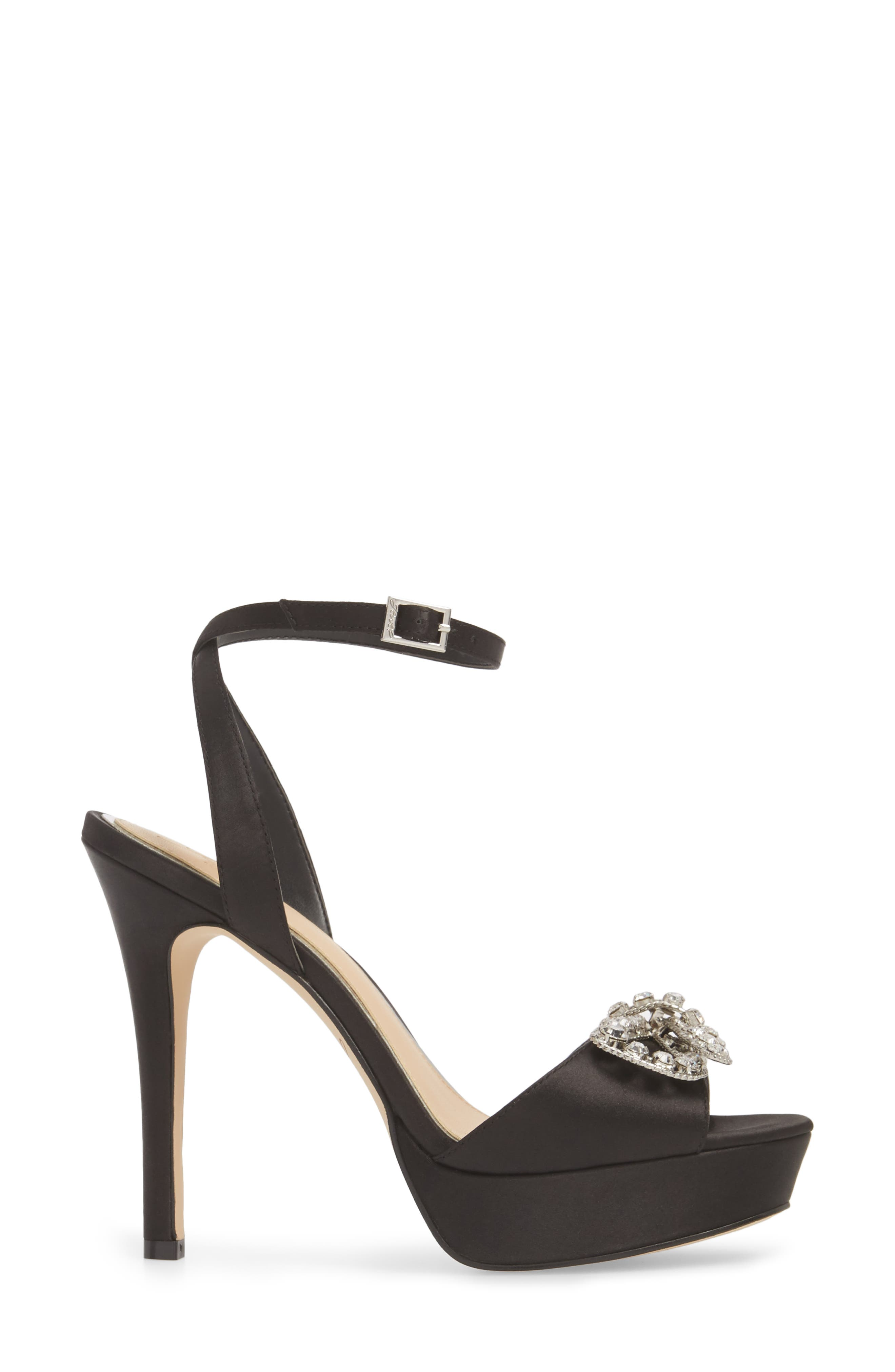 Mildred Crystal Bow Platform Sandal,                             Alternate thumbnail 3, color,                             BLACK SATIN