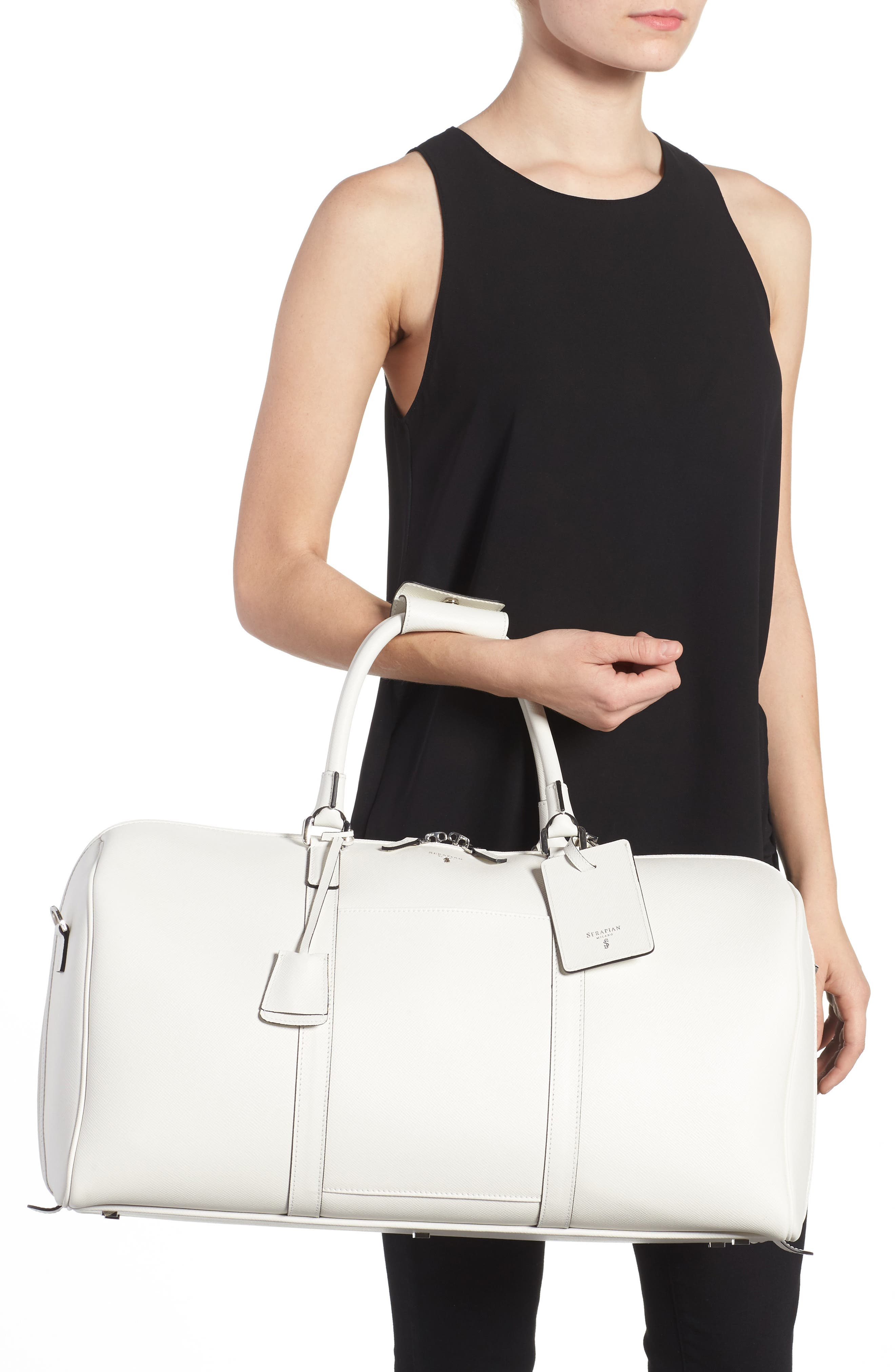 Small Evolution Leather Duffel Bag,                             Alternate thumbnail 6, color,