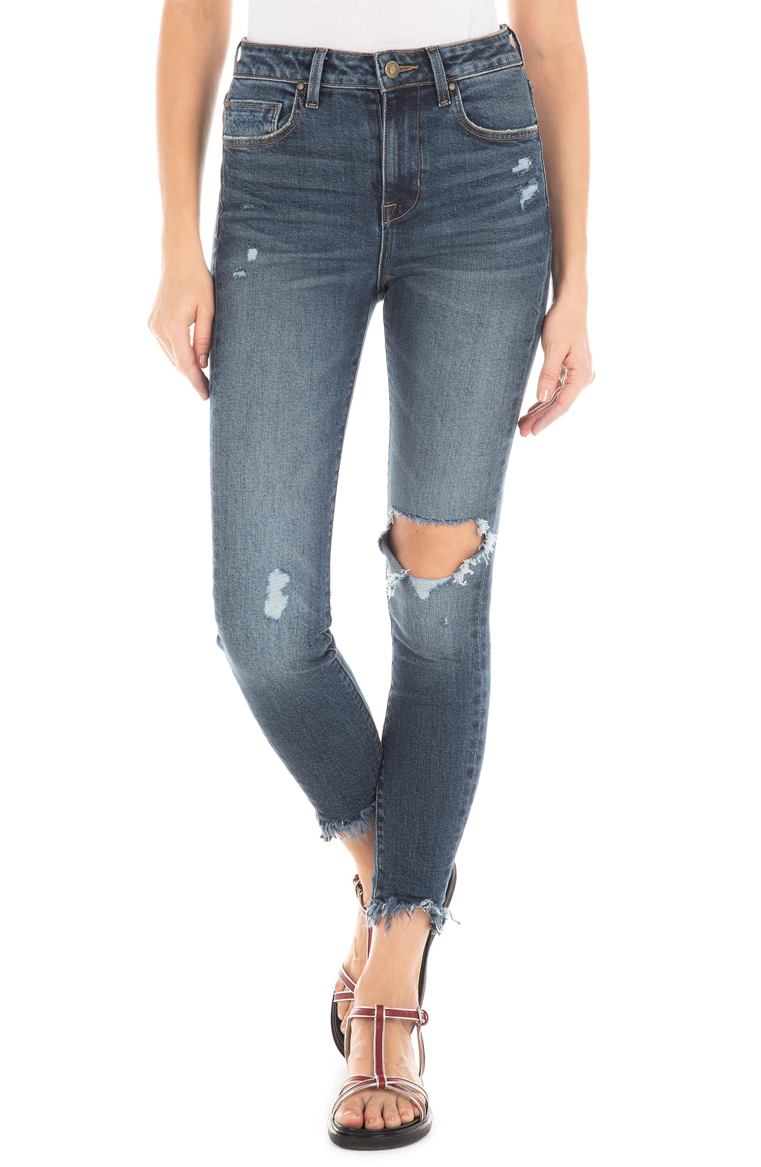 FIDELITY DENIM,                             Luna Ripped High Waist Crop Skinny Jeans,                             Main thumbnail 1, color,                             ROCKAWAY BLUE