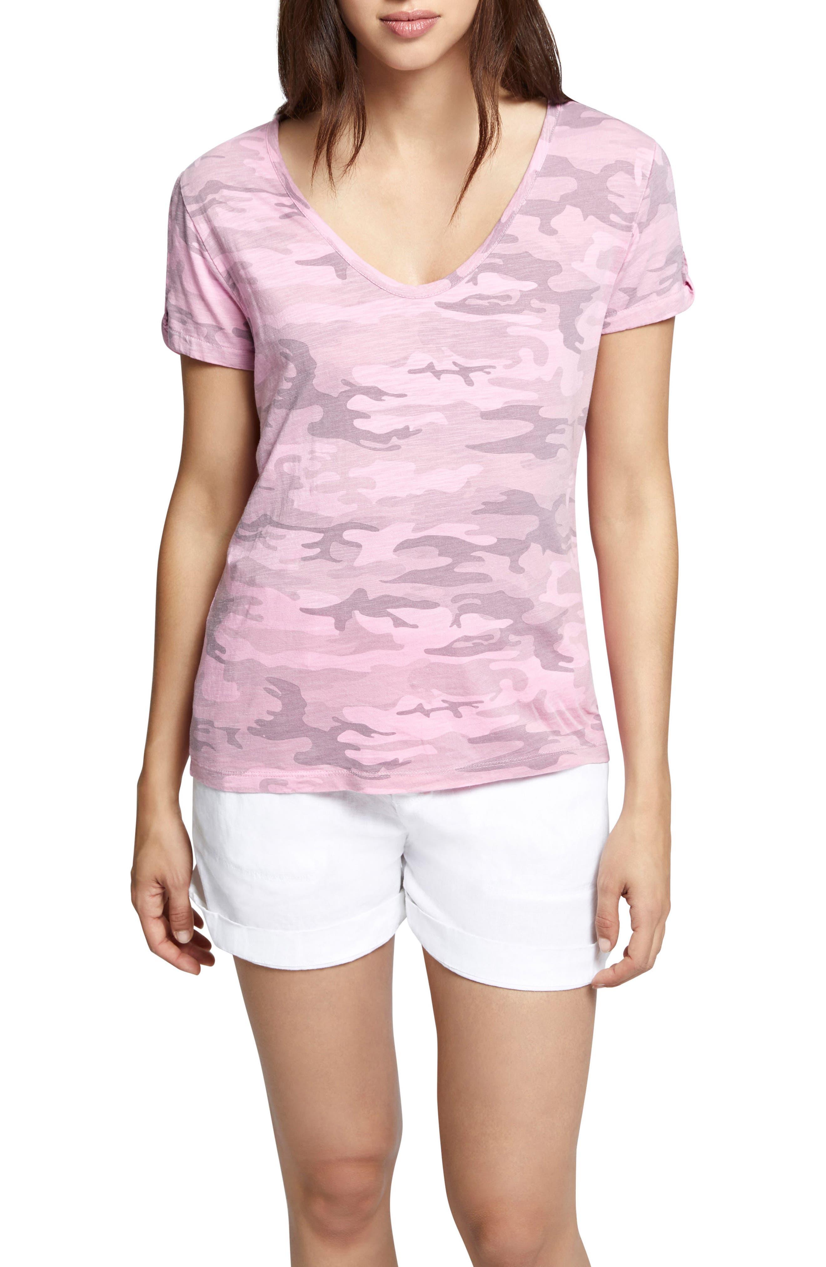 Camo Twist Sleeve Cotton Blend Tee,                             Main thumbnail 2, color,