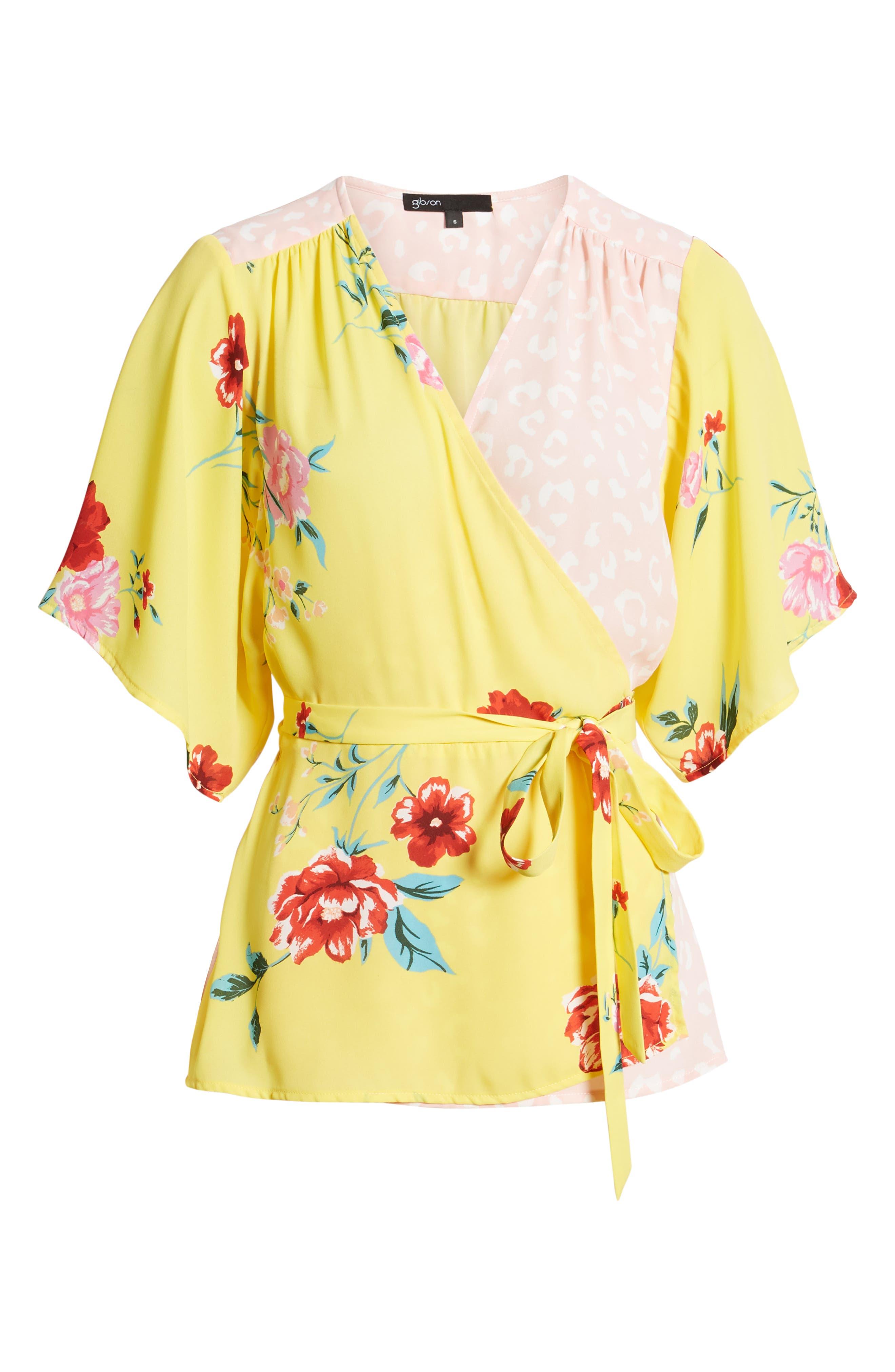 GIBSON,                             x International Women's Day Mindy Kimono Sleeve Wrap Blouse,                             Alternate thumbnail 6, color,                             VIRGINIA BLOOM