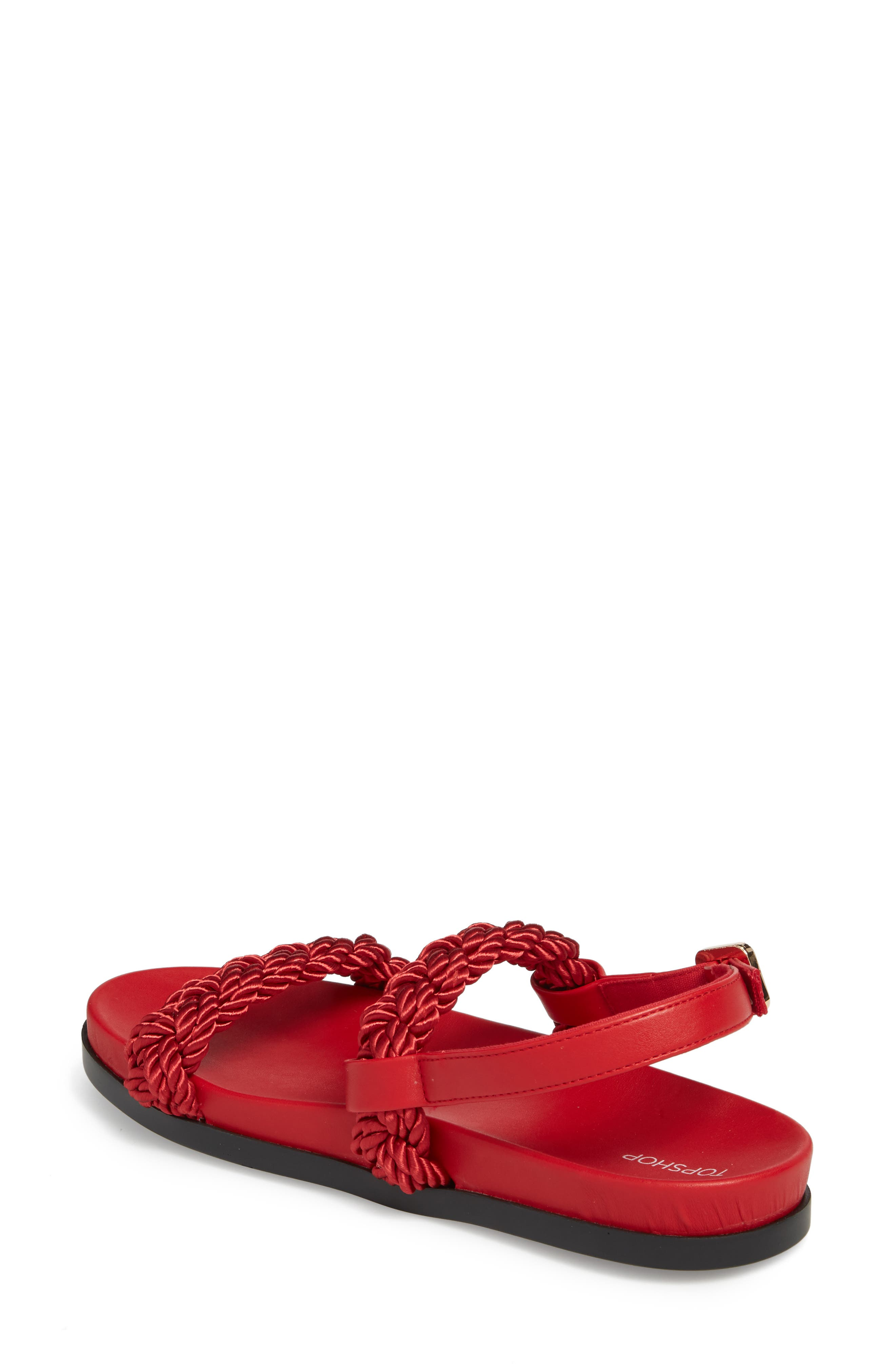 Hackney Rope Footbed Sandals,                             Alternate thumbnail 2, color,                             RED