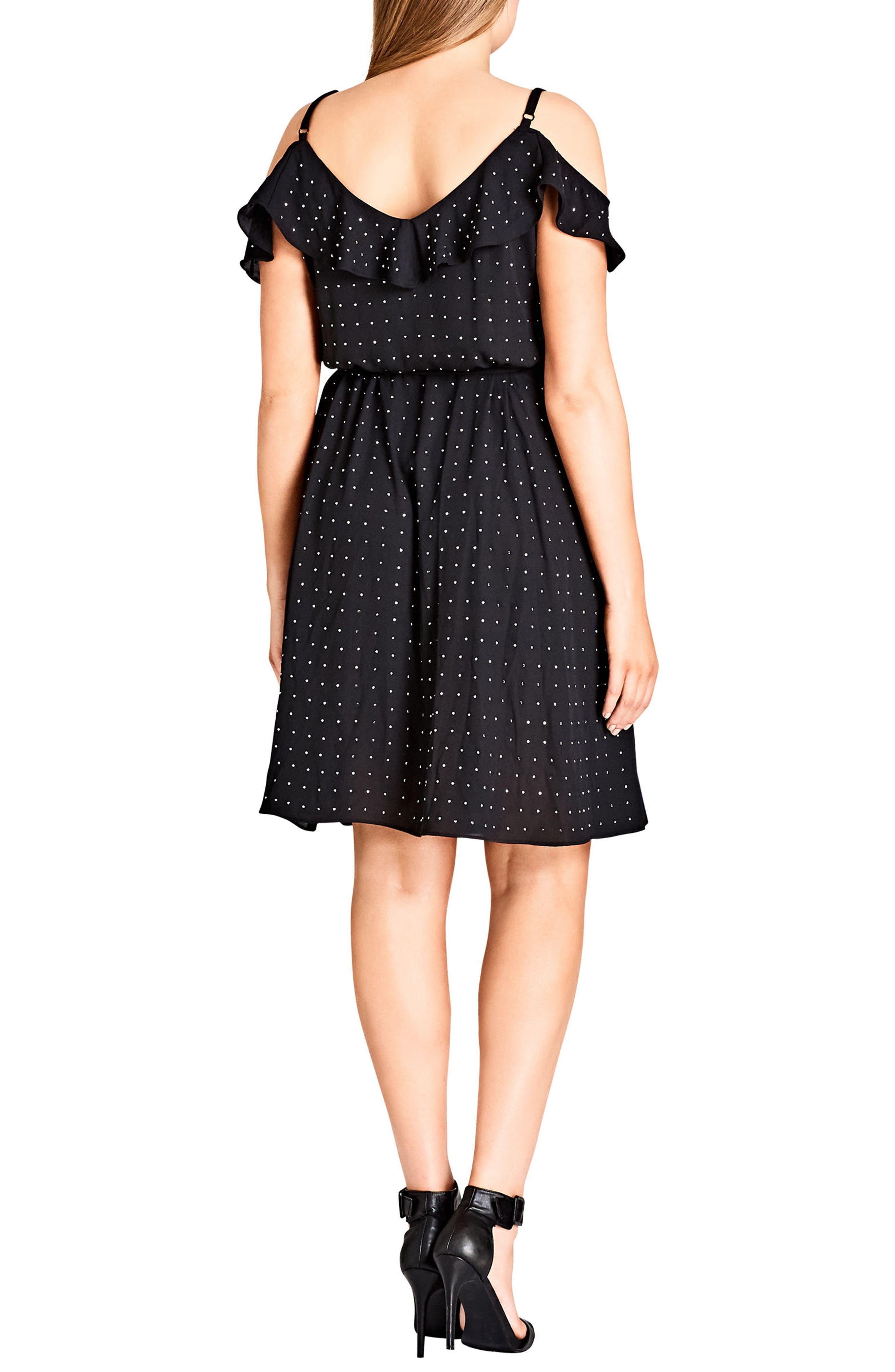 Flirty Bling Cold Shoulder Ruffle Fit & Flare Dress,                             Alternate thumbnail 3, color,                             001