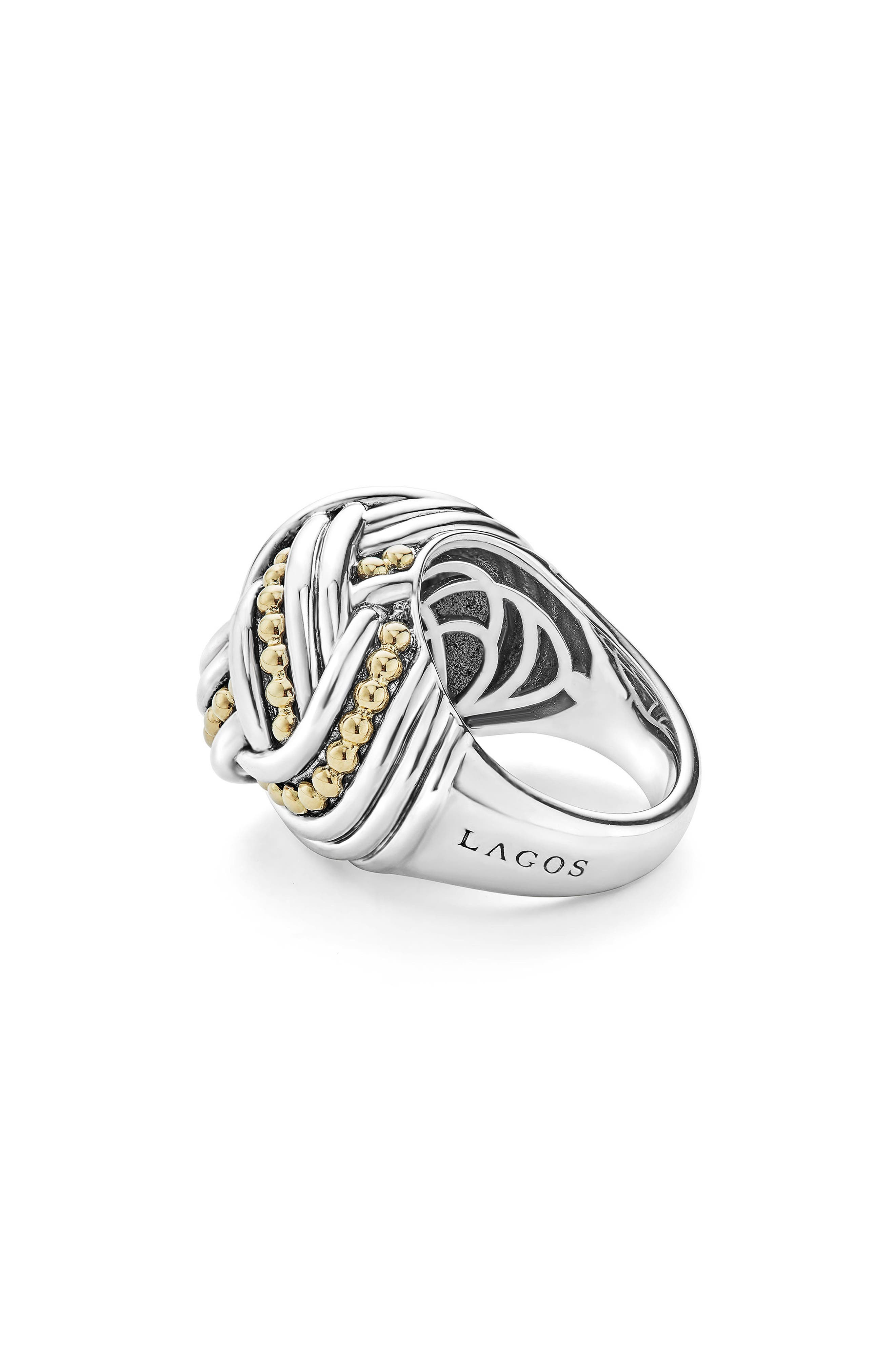 Torsade Large Rounded Rectangle Ring,                             Alternate thumbnail 6, color,                             SILVER/ GOLD