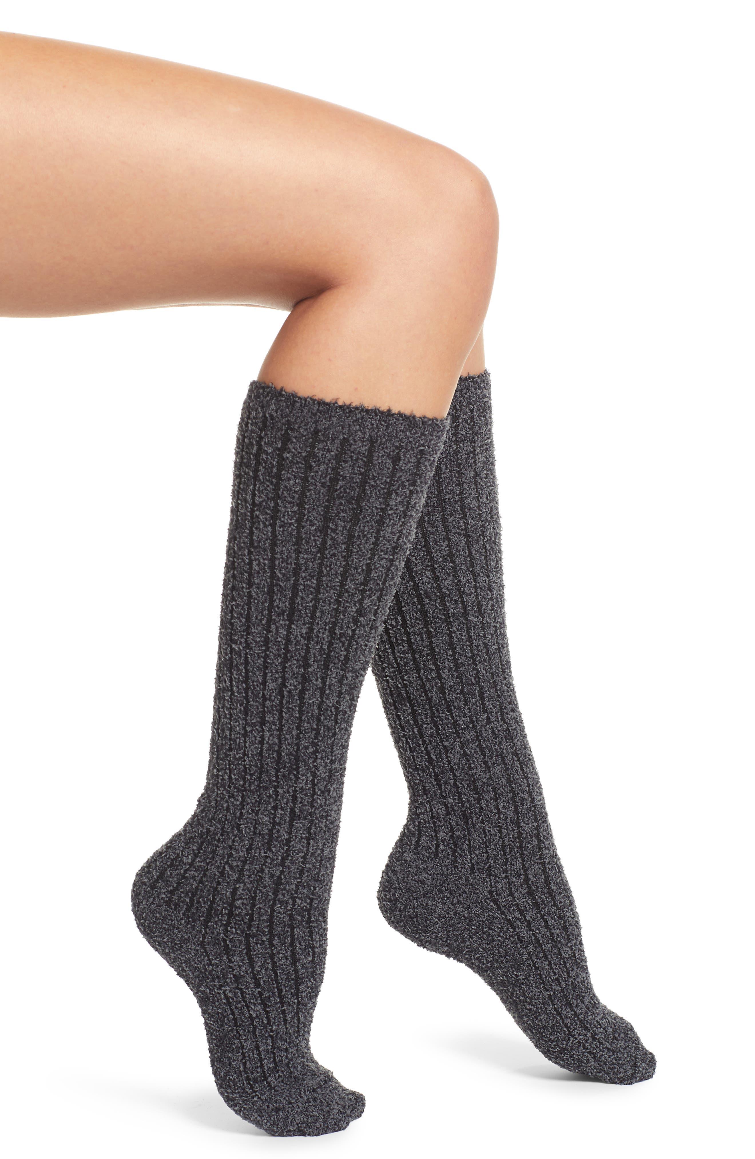 BAREFOOT DREAMS<SUP>®</SUP>,                             CozyChic<sup>™</sup> Rib Knee High Socks,                             Main thumbnail 1, color,                             HE CARBON/ BLACK
