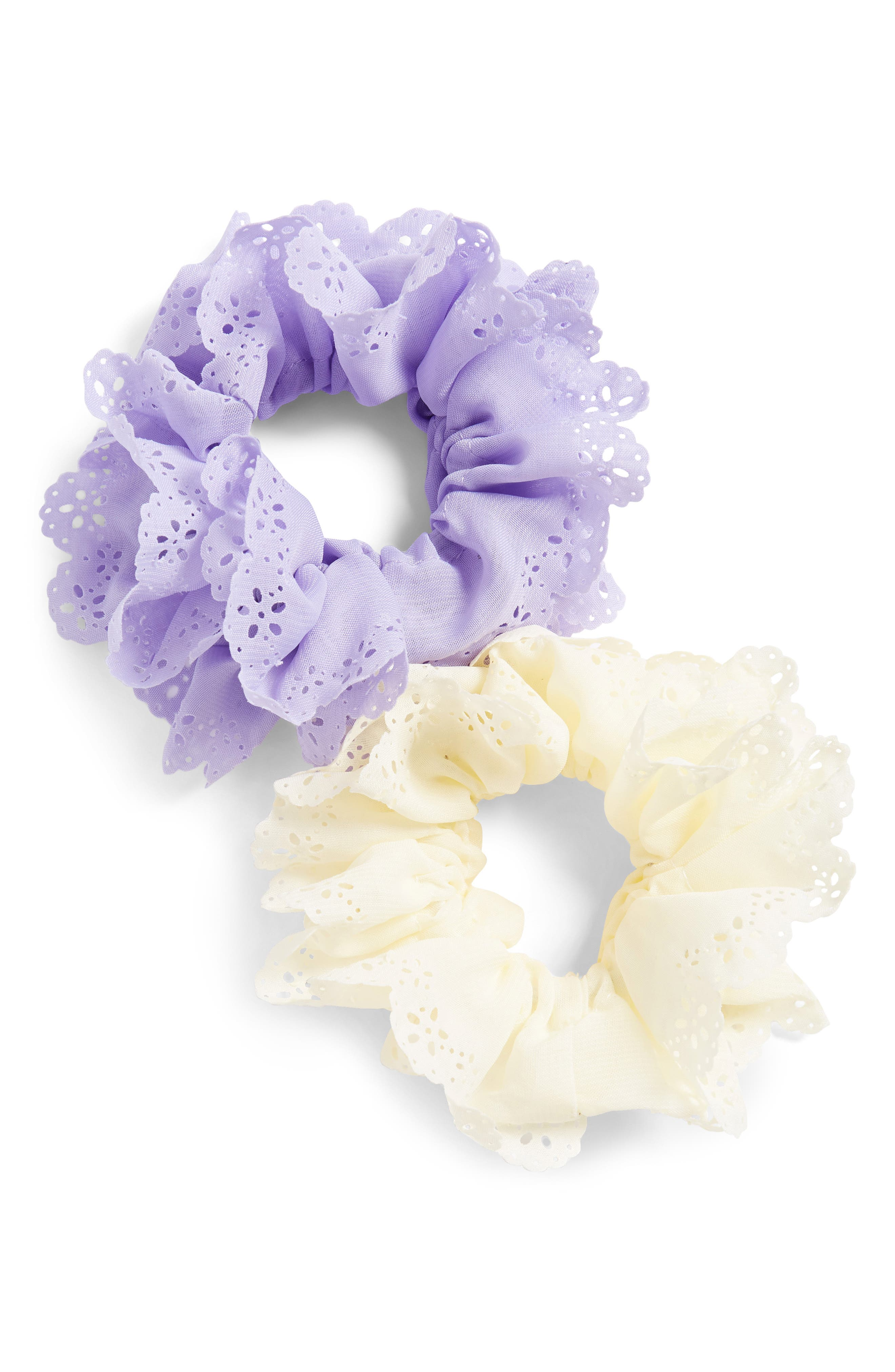 2-Pack Eyelet Scrunchies, Main, color, WHITE/ LAVENDER