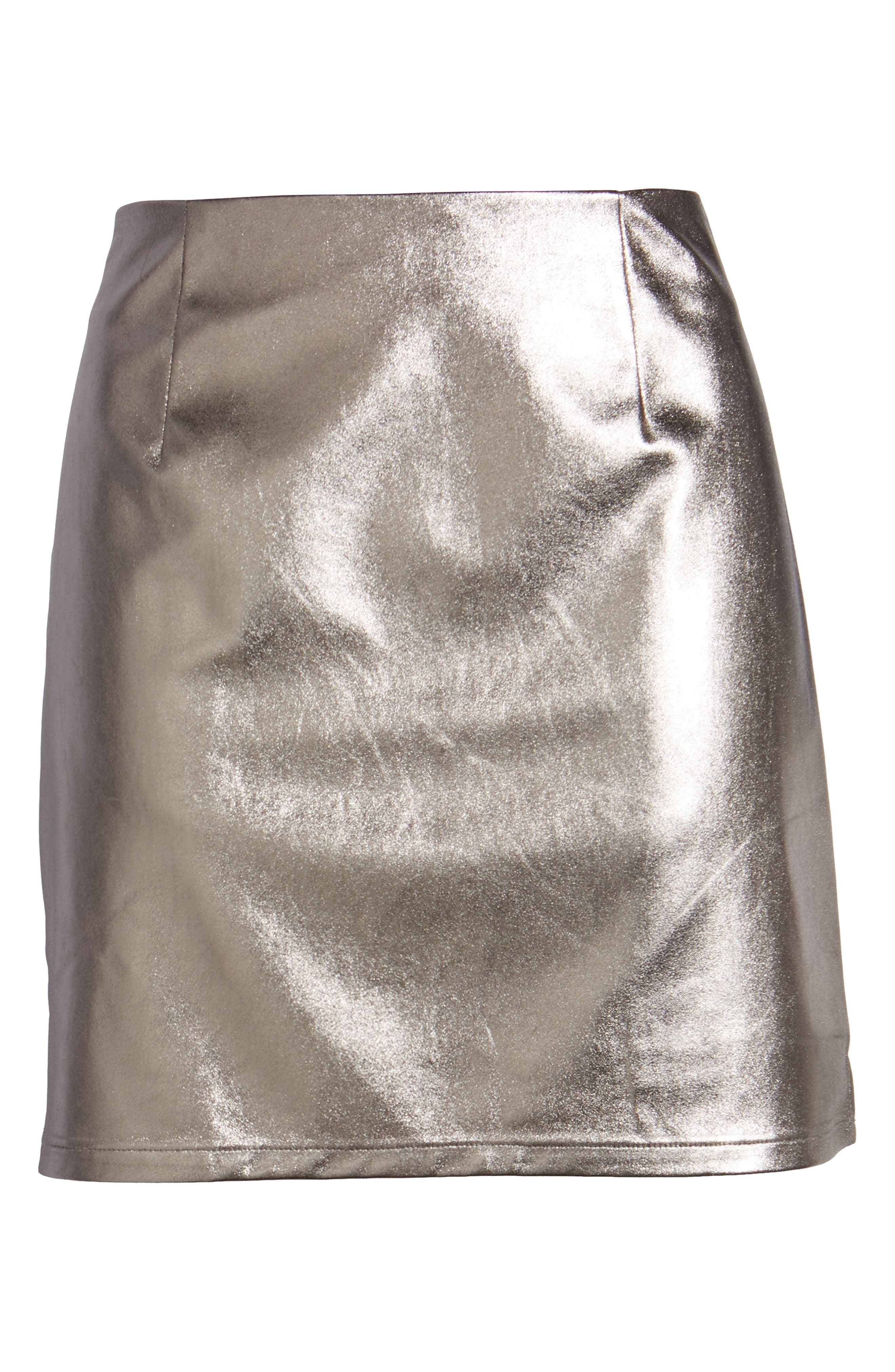 Lovers+ Friends Back to Basics Silver Miniskirt,                             Alternate thumbnail 6, color,                             020