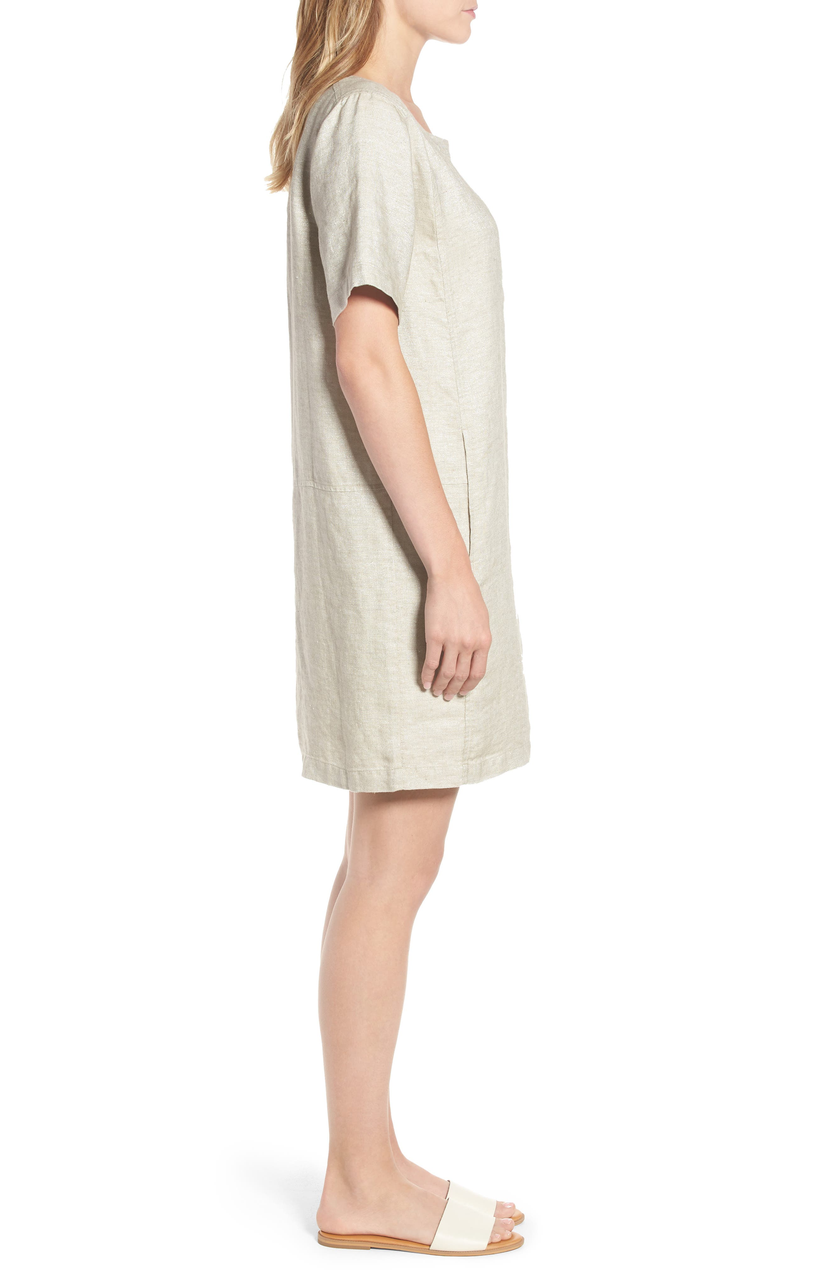 Scoop Neck Linen Blend Dress,                             Alternate thumbnail 3, color,                             257